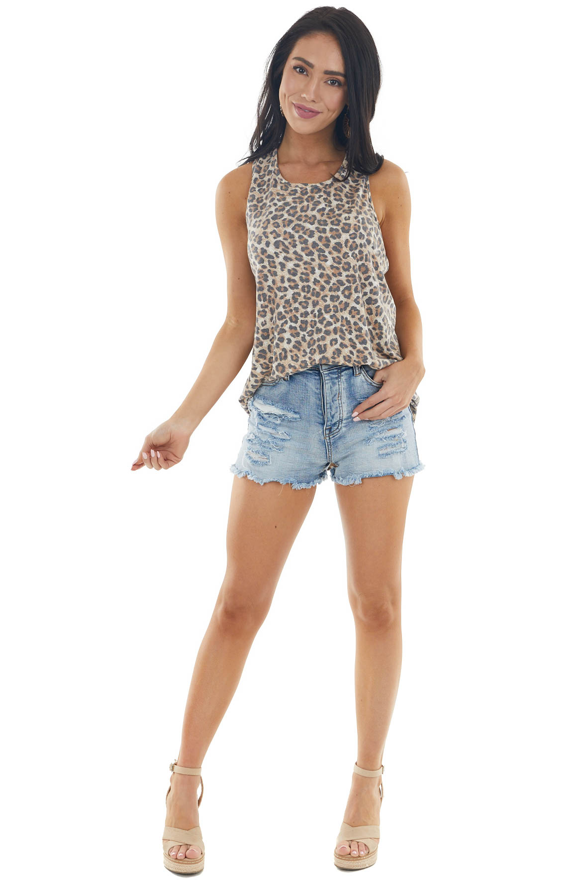 Camel Sleeveless Knit Top with Twisted Racer Back Detail
