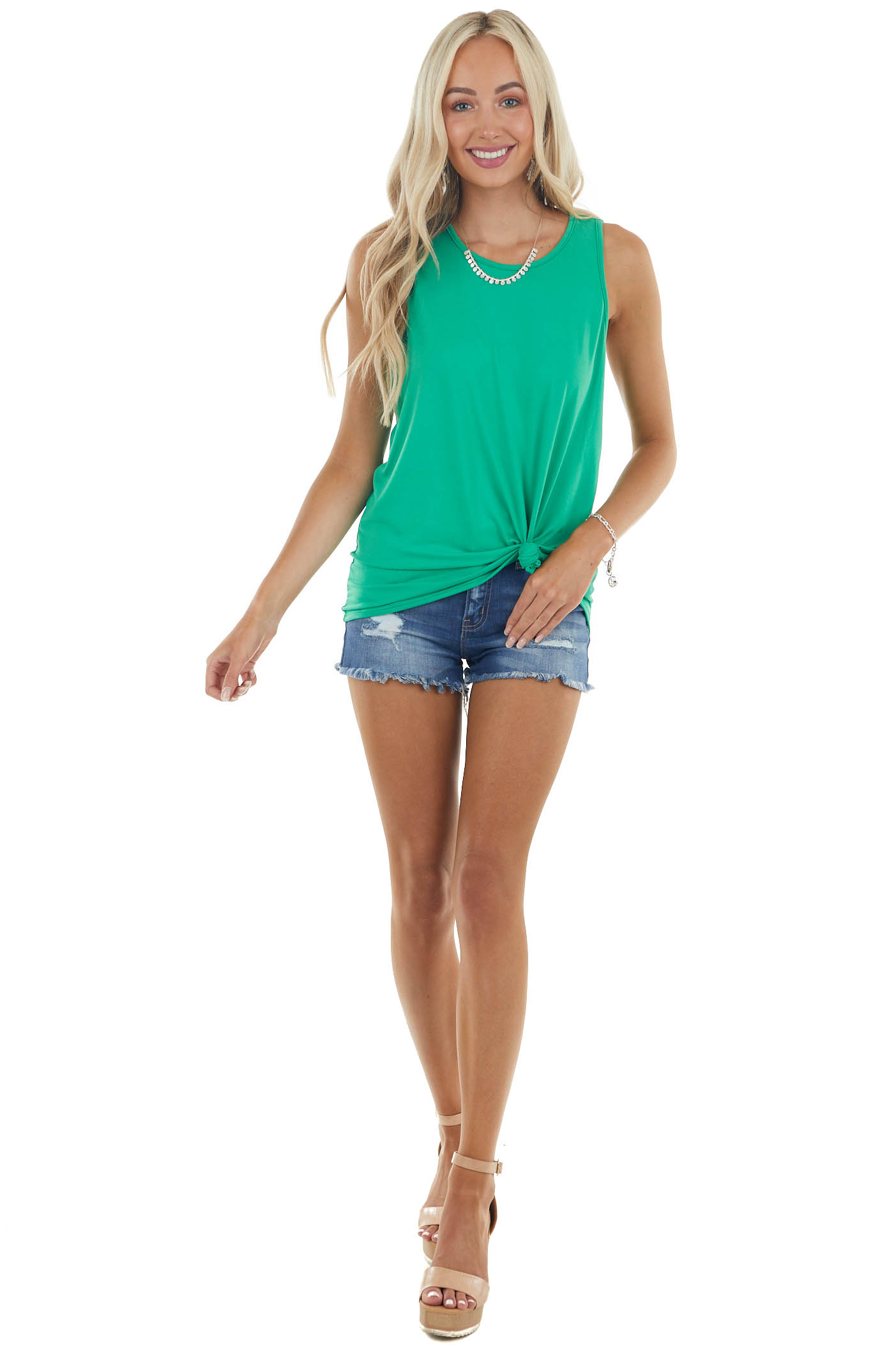 Kelly Green Twisted Racerback Stretchy Knit Tank Top