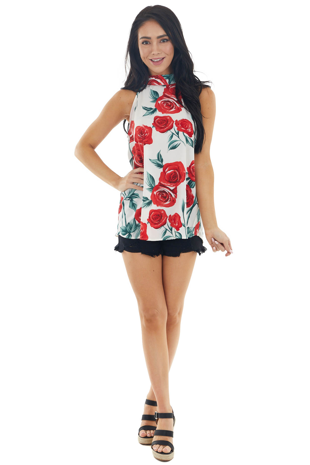 Ivory Floral Halter Neck Sleeveless Blouse with Tie Closure