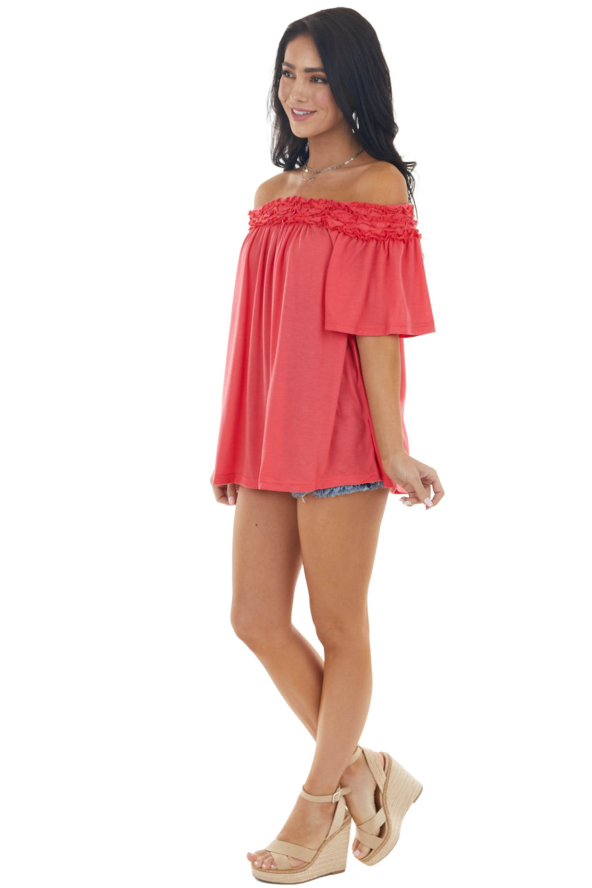 Watermelon Frilled Off the Shoulder Short Sleeve Knit Top
