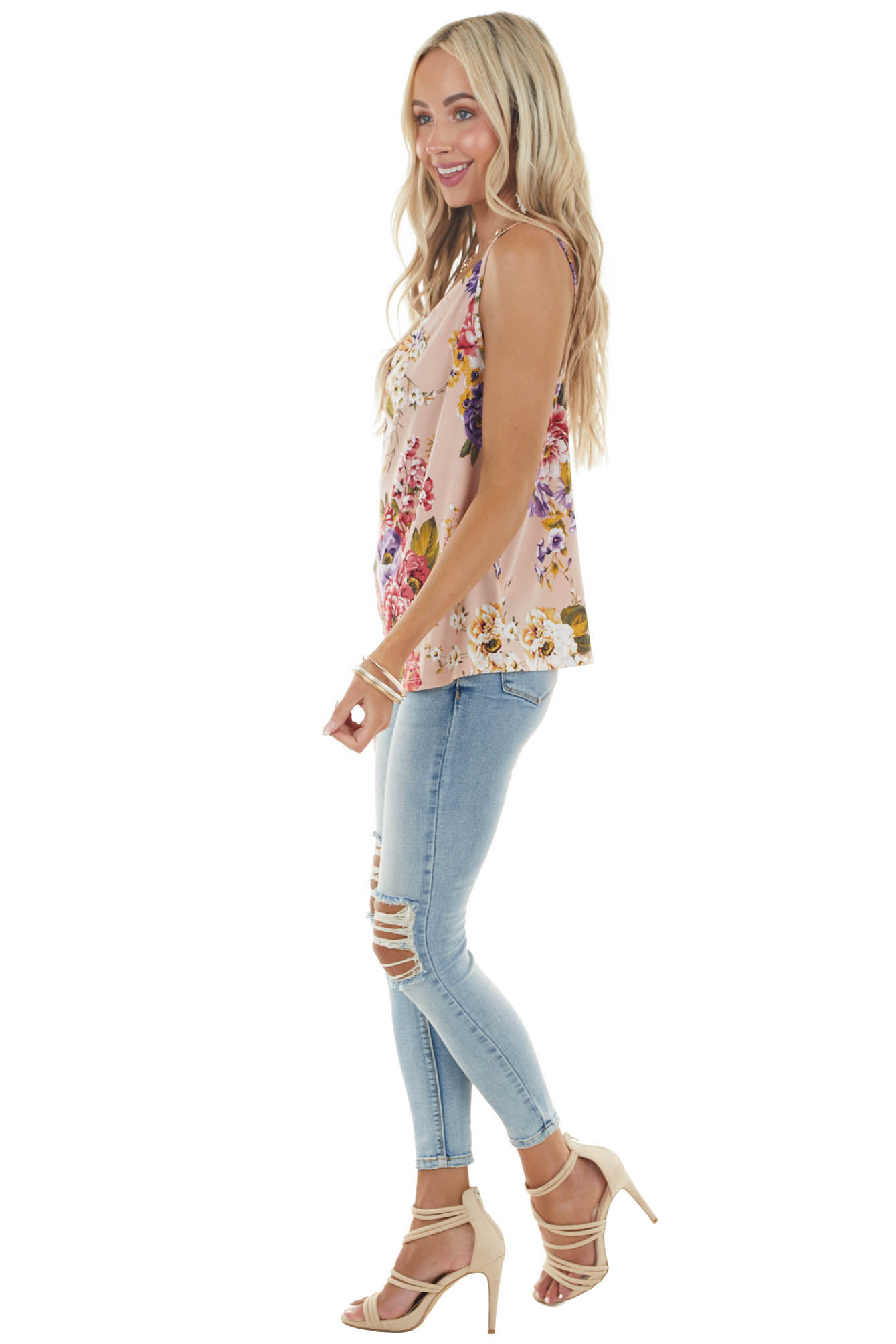 Dusty Blush Floral Print Sleeveless Top with Draped Neckline