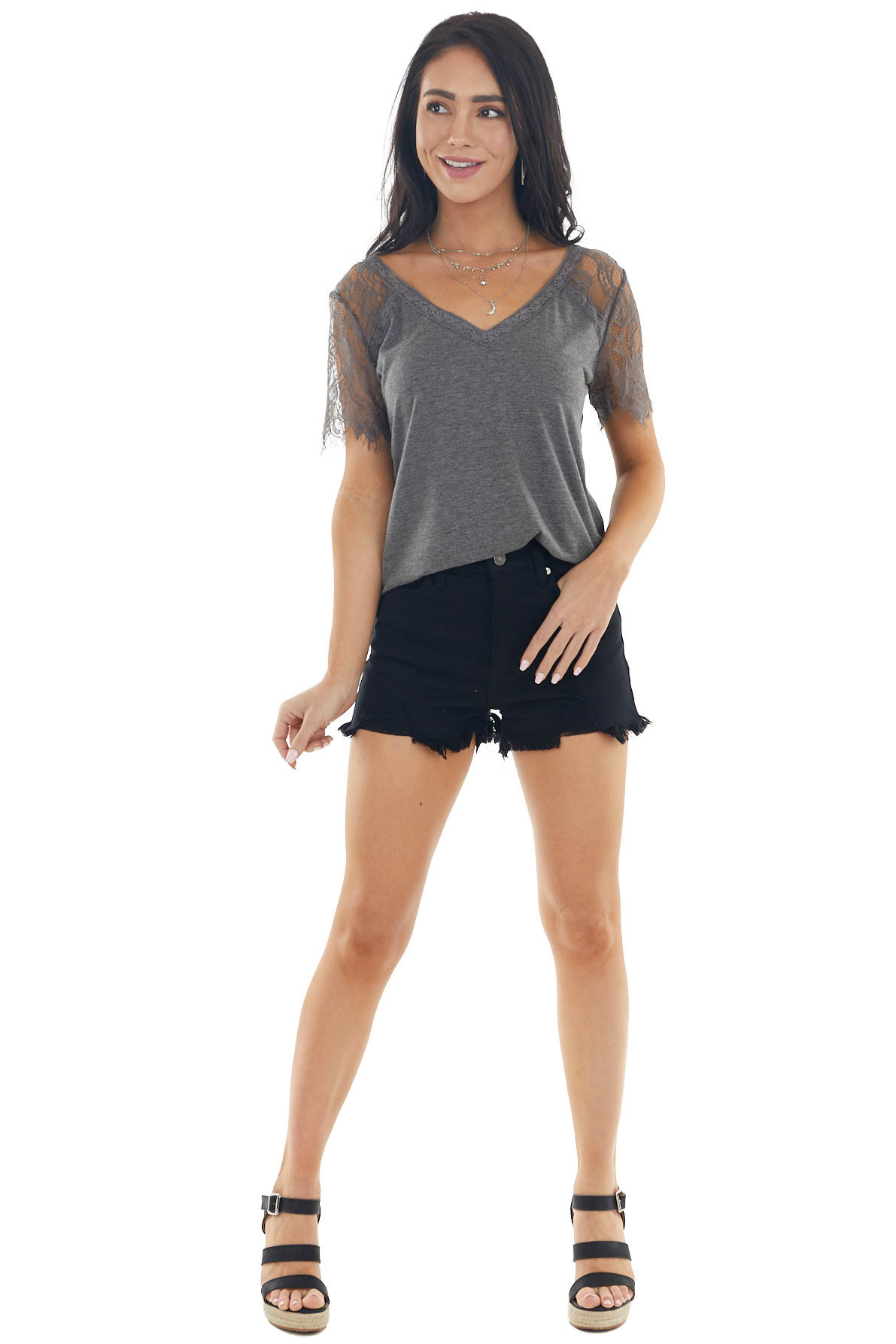 Graphite Short Sleeve V Neck Knit Top with Lace Details