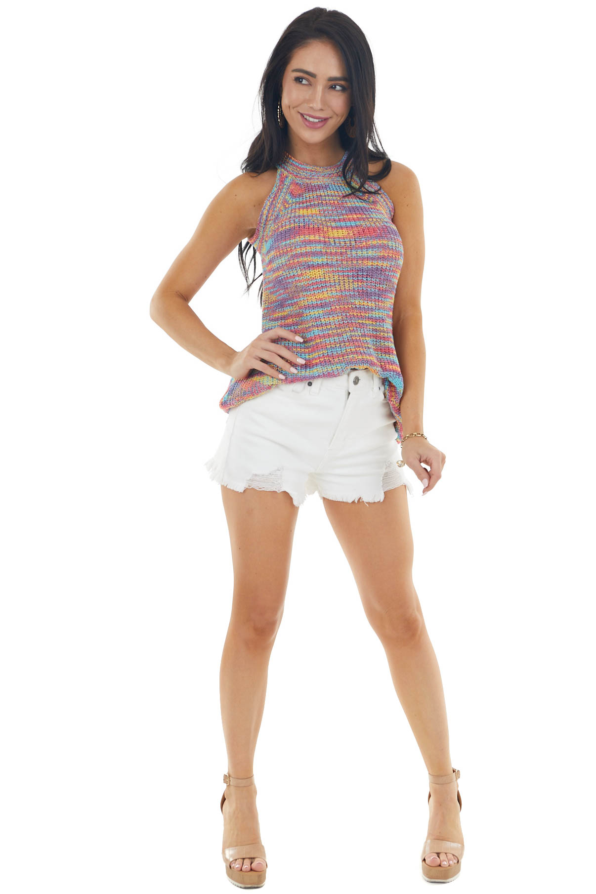 Iris Multicolor Sleeveless Halter Top with Ribbed Details