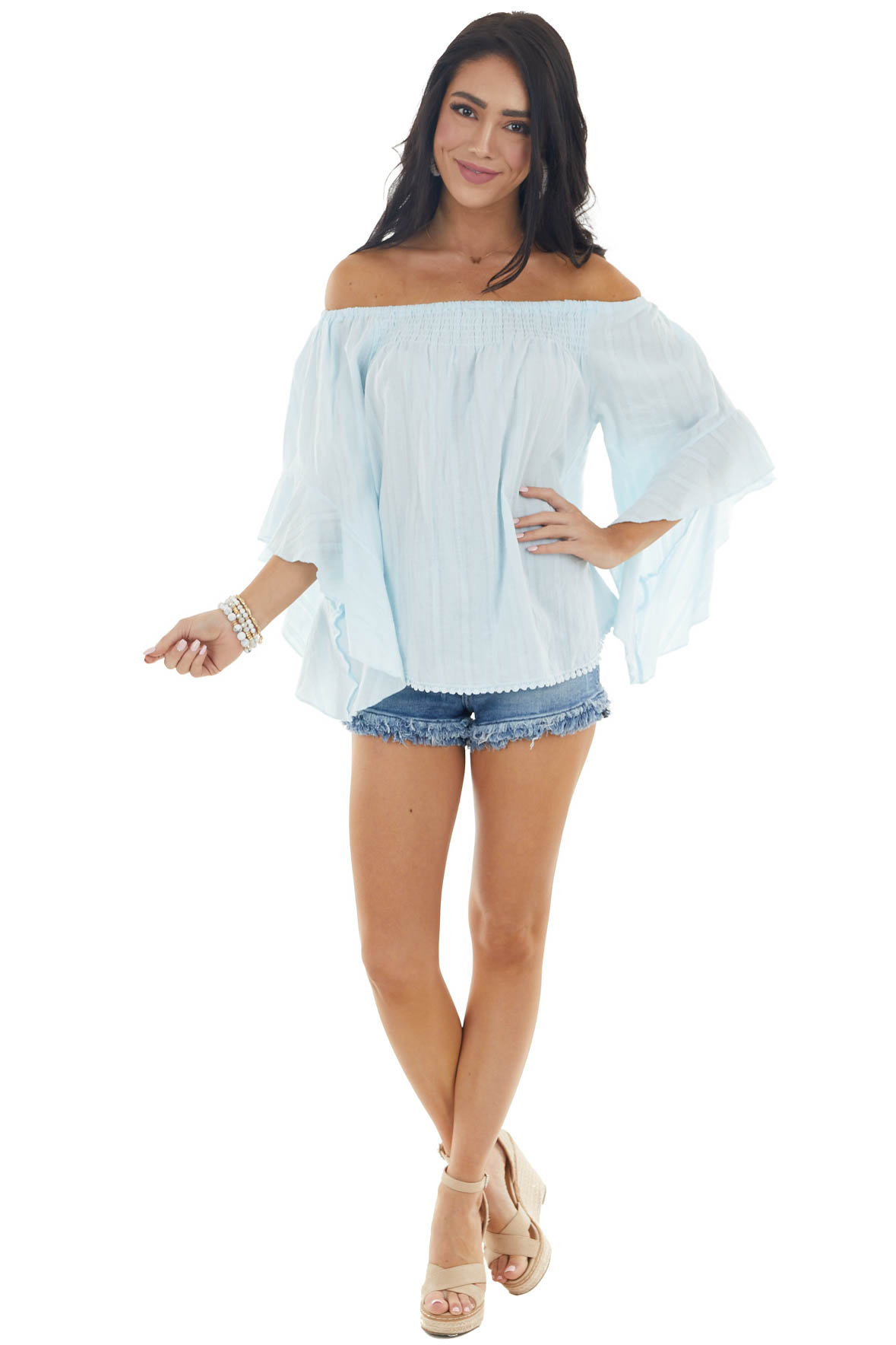 Sky Blue Off The Shoulder Top with Half Flare Sleeves