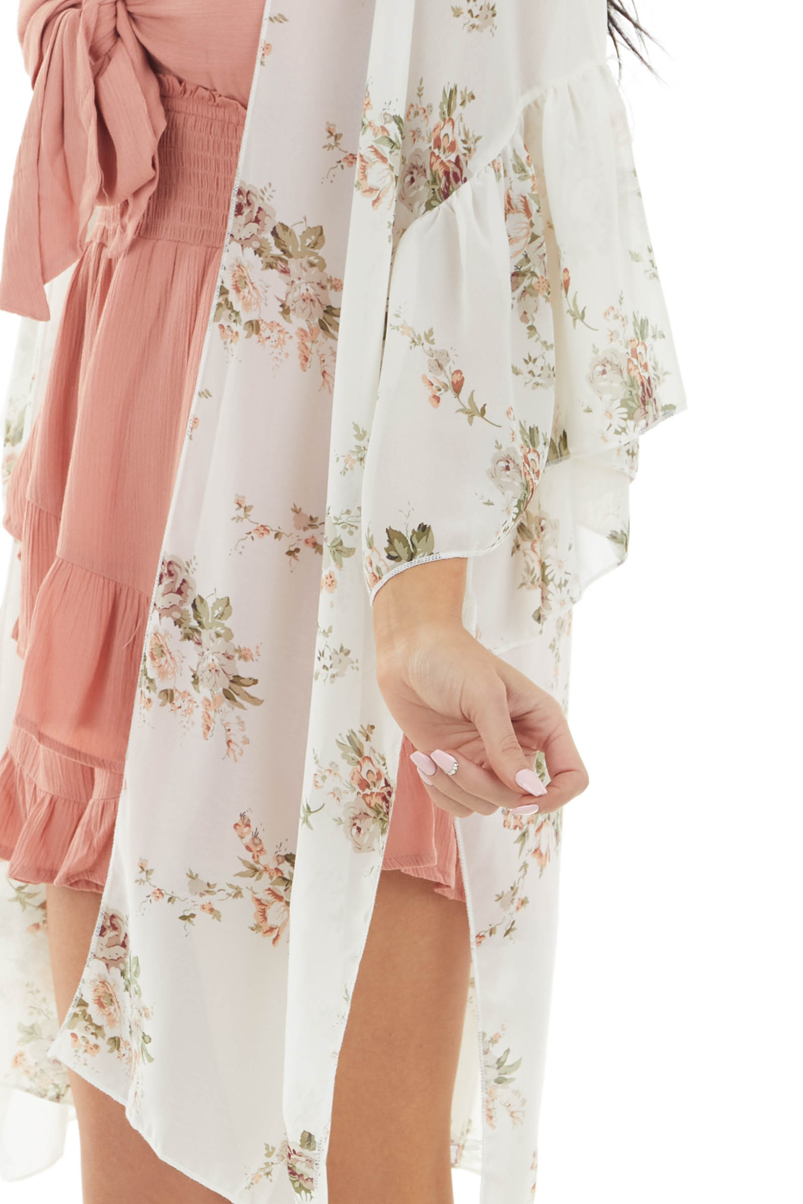 Ivory Floral Print Sheer Woven Kimono with Side Slits