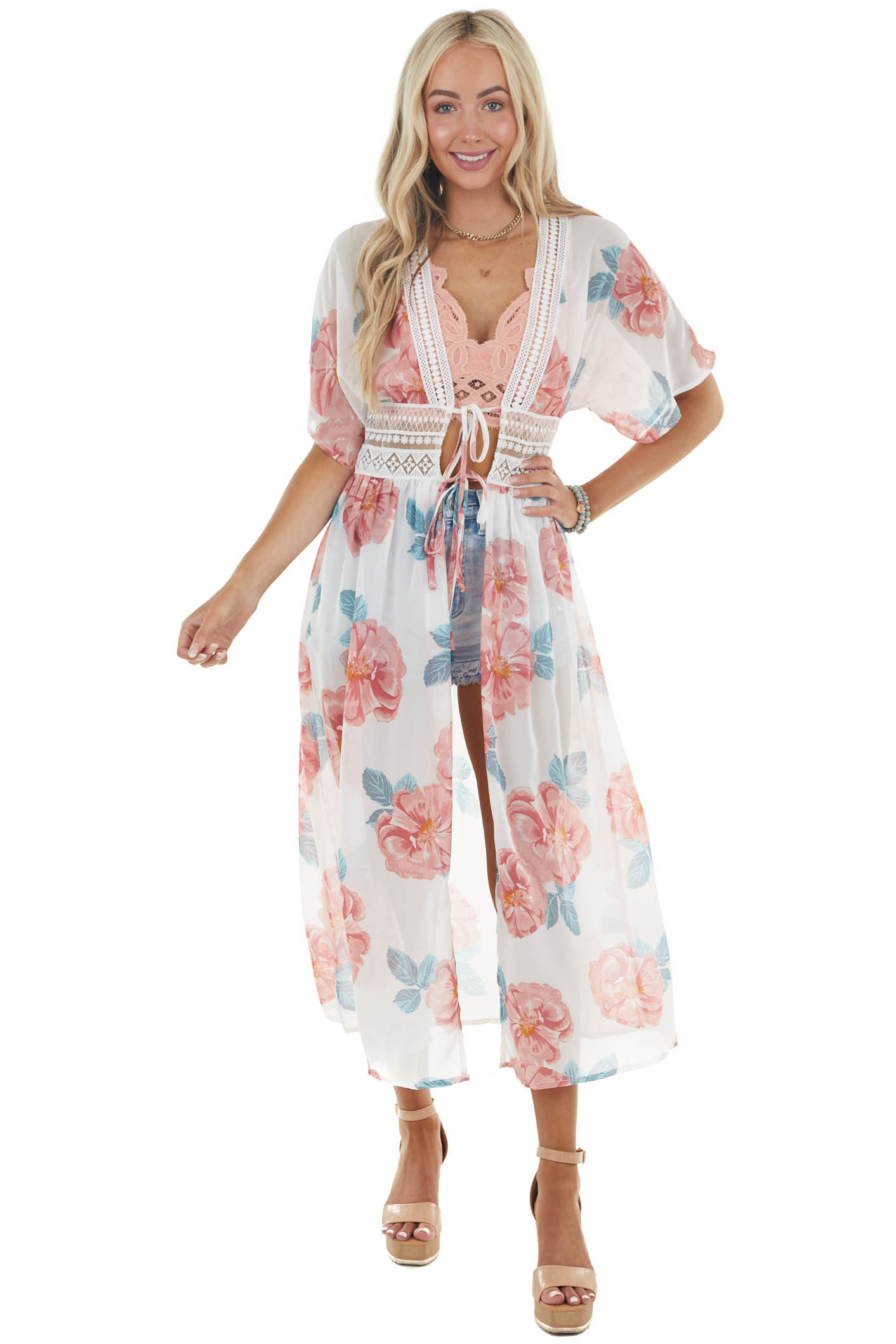 Ivory Floral Print Woven Duster Kimono with Lace Details