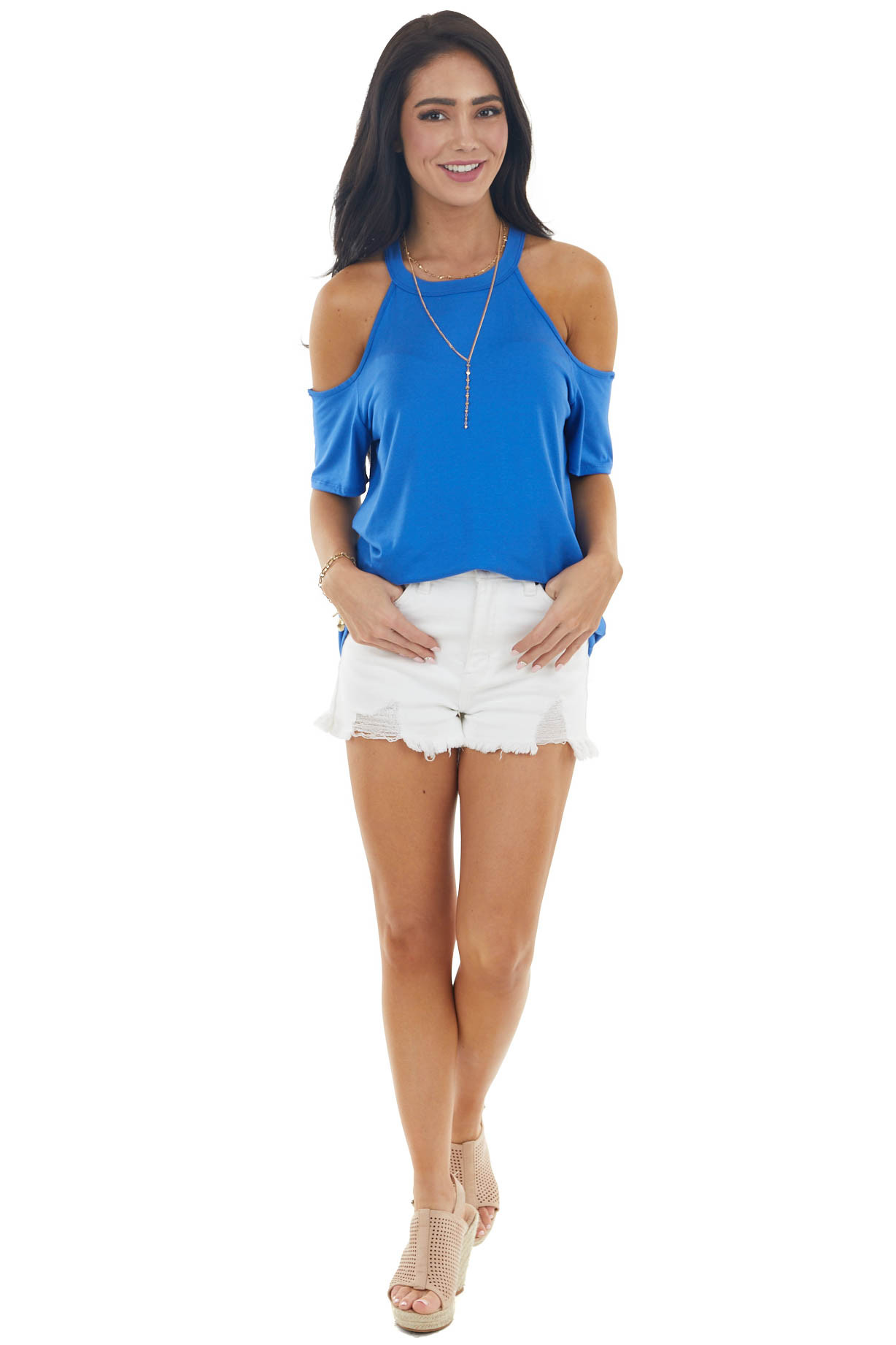 Royal Blue Cold Shoulder Stretchy Knit Short Sleeve Top