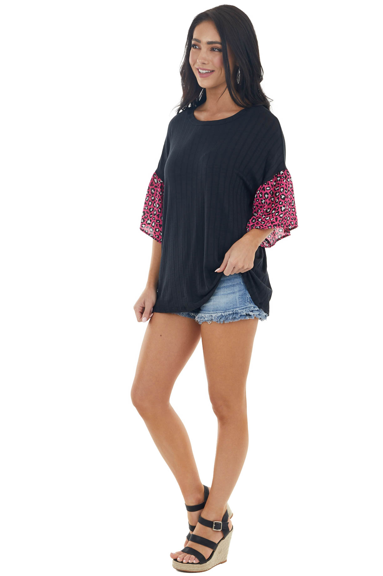 Black Ribbed Short Sleeve Knit Top with Leopard Detail