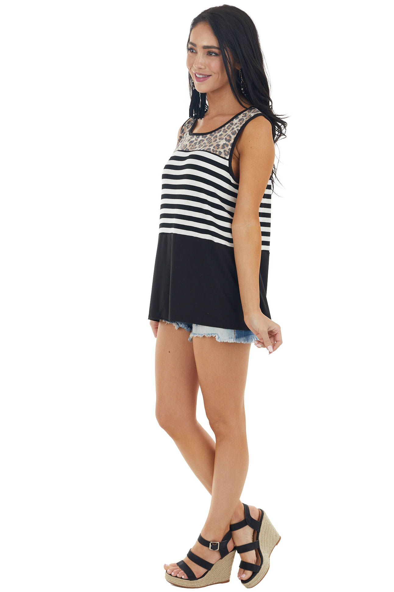 Black and Ivory Colorblock Sleeveless Knit Tank Top