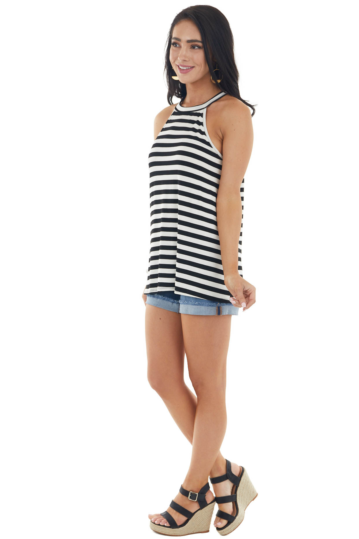 Black and Off White Striped Knit Tank Top with Halter Neckline