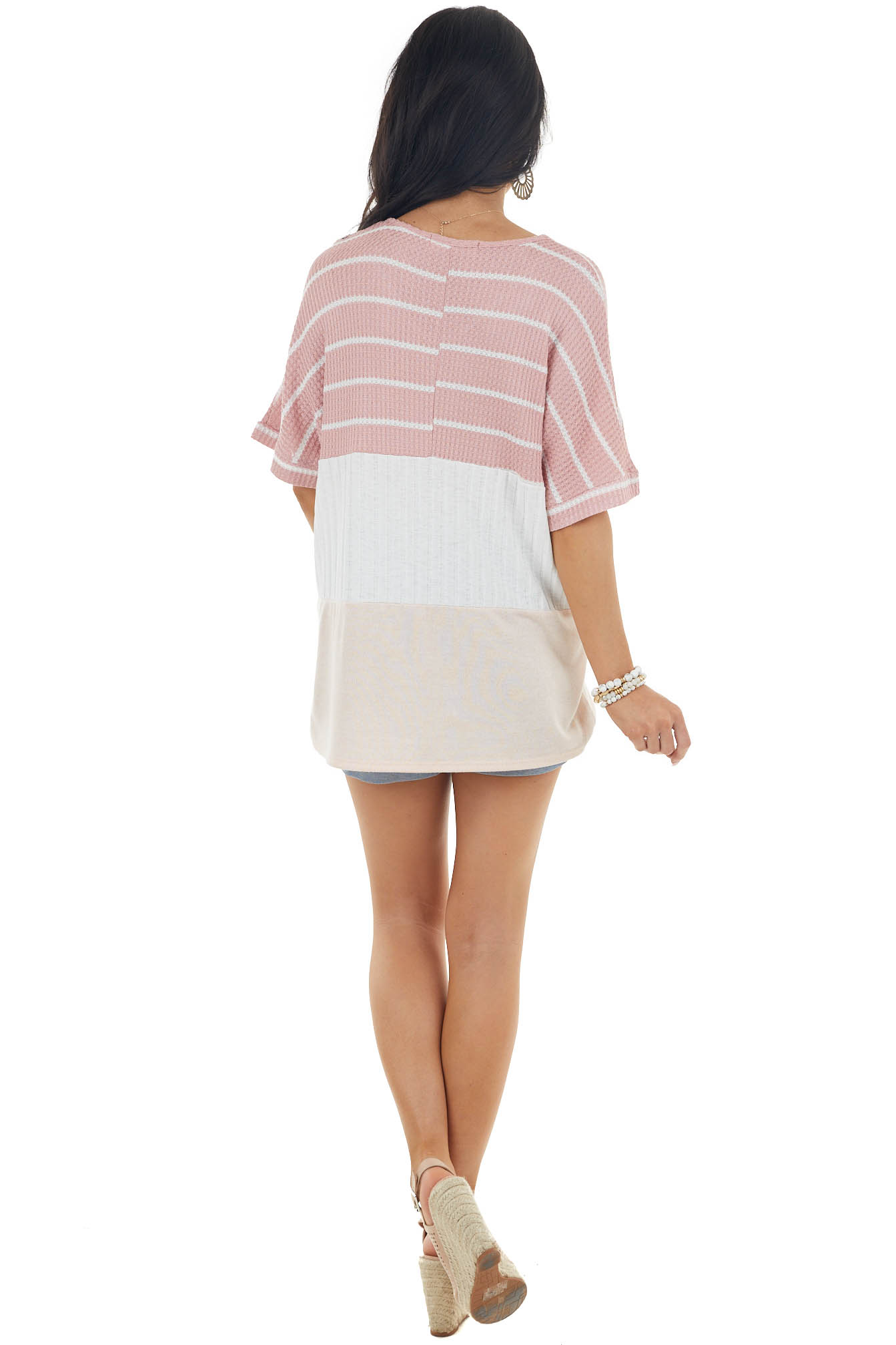 Off White Colorblock Mixed Knit Top with Short Sleeves