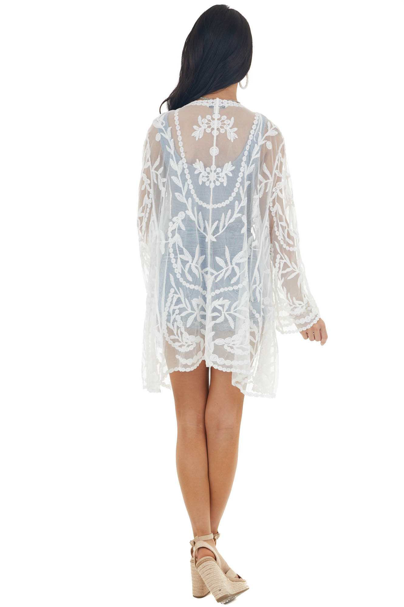 Off White Long Sleeve Open Front Floral Crochet Lace Kimono
