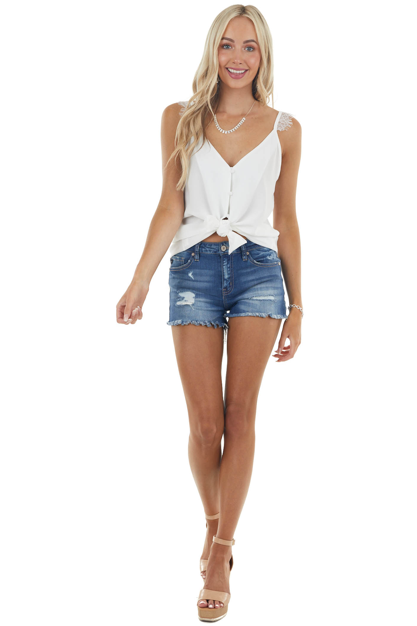 Ivory Button Up Sleeveless Top with Eyelash Lace Detail