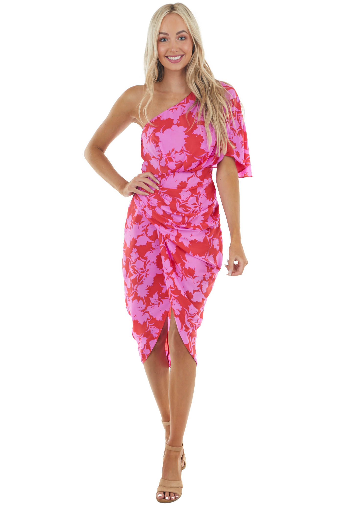 Ruby and Fuchsia Floral One Shoulder Short Woven Dress