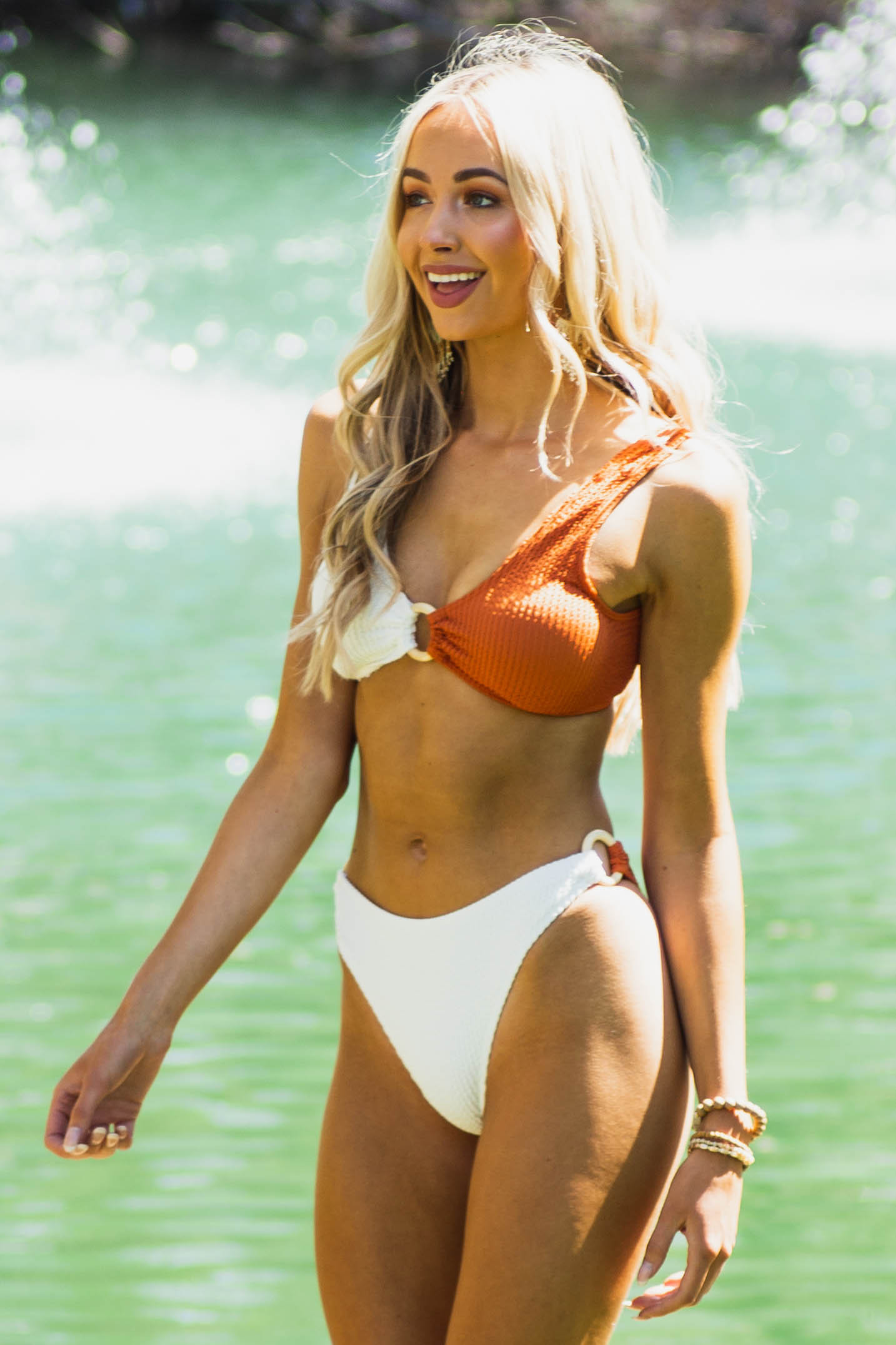 Marmalade and White Textured Bikini Set with Ring Details