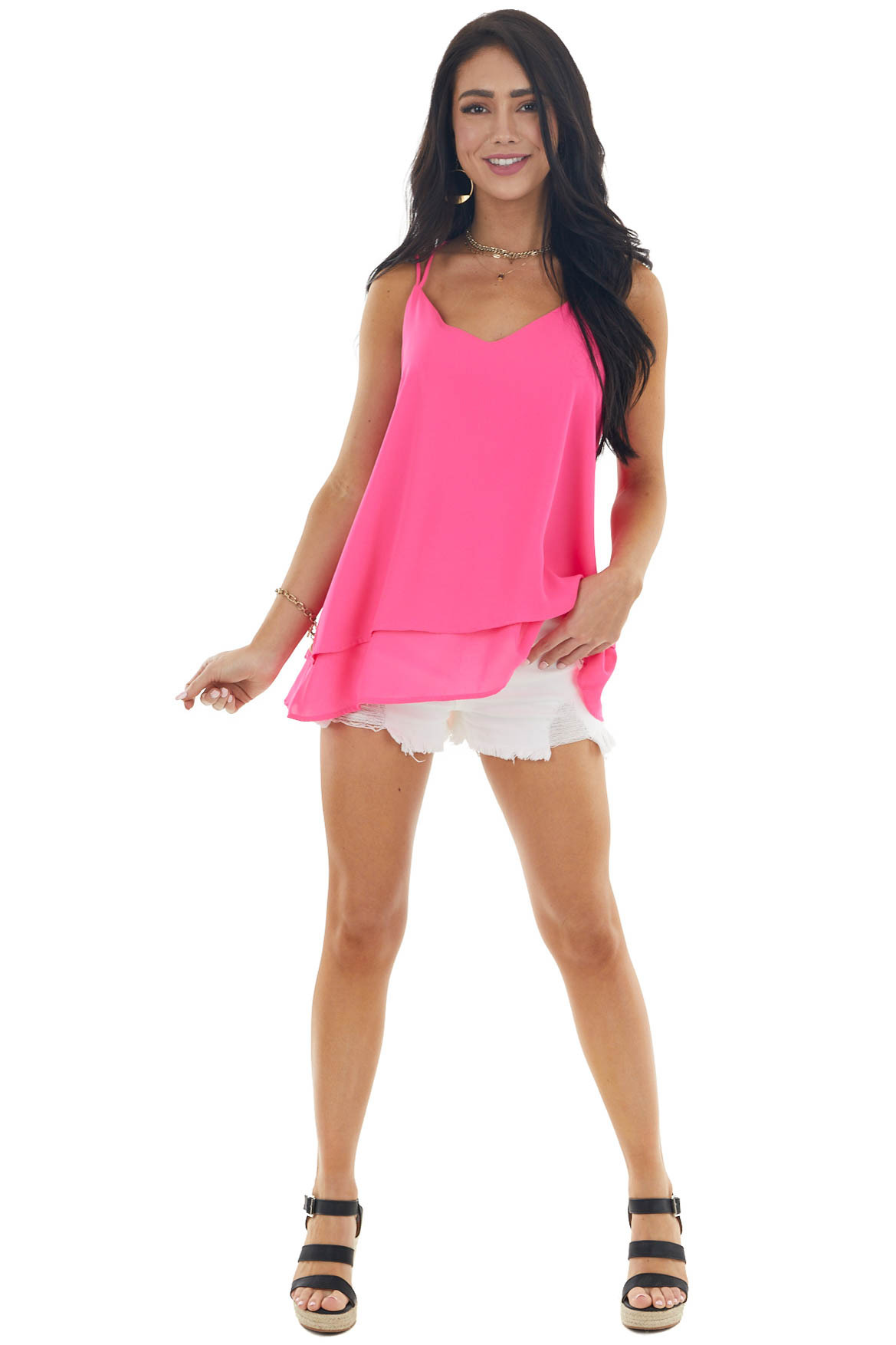 Magenta Double Criss Cross Straps Layered Woven Tank Top