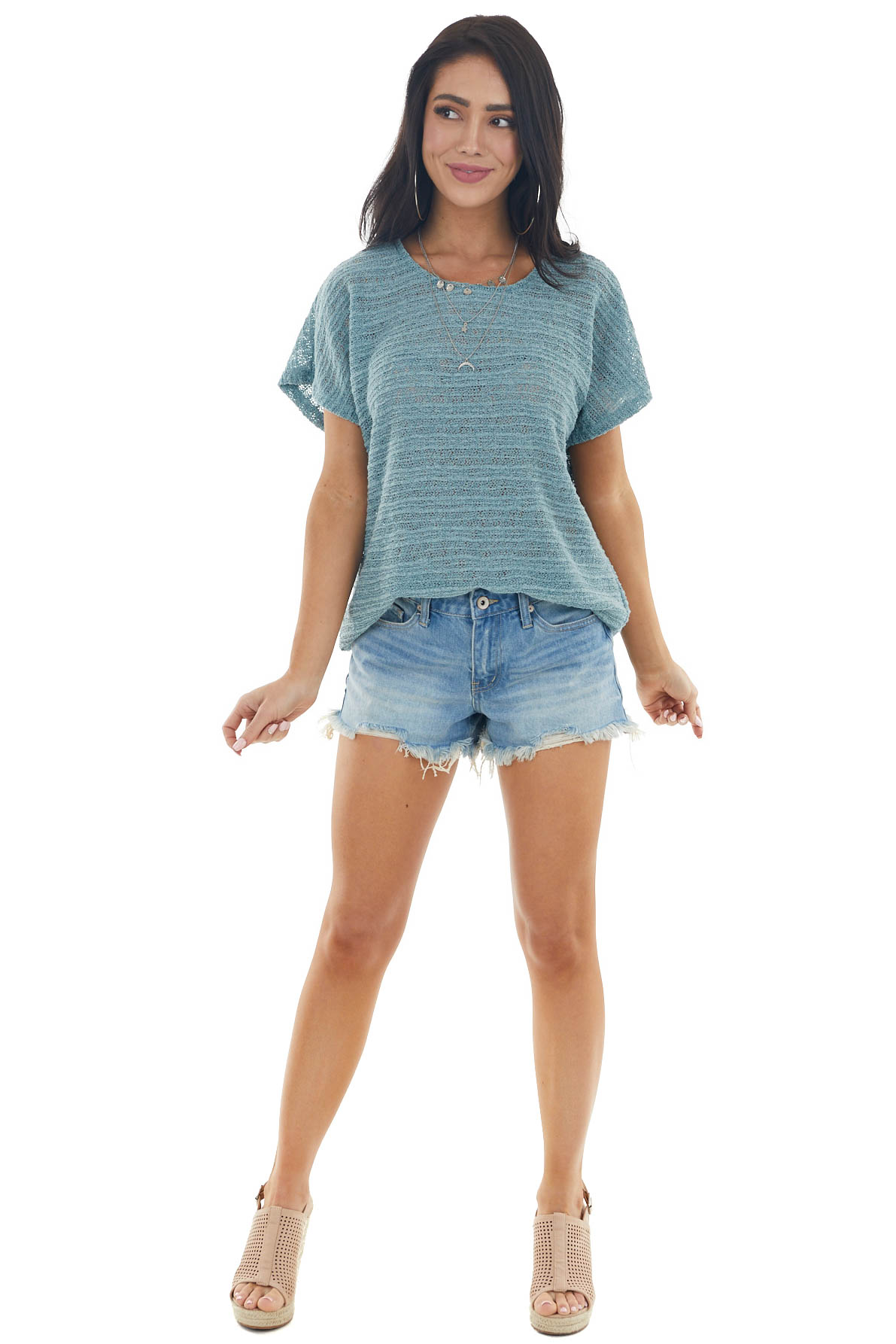 Light Juniper Stretchy Loose Knit Top with Short Sleeves
