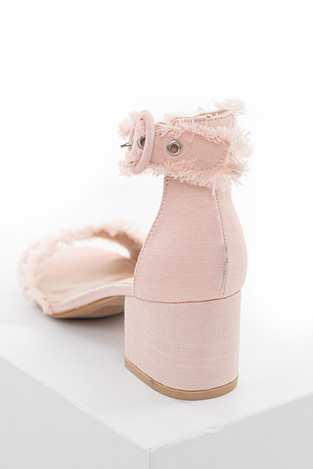 Cherry Blossom Frayed Edge Block Heel Sandals with Buckle