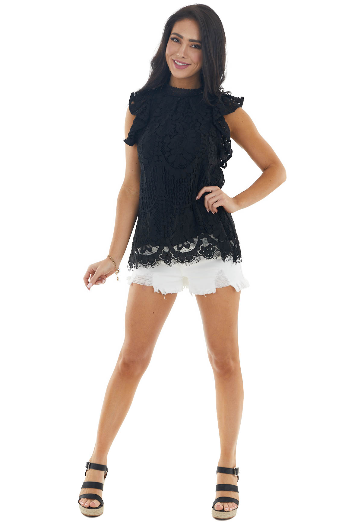 Black Lace Ruffle Cap Sleeve Blouse with High Neckline