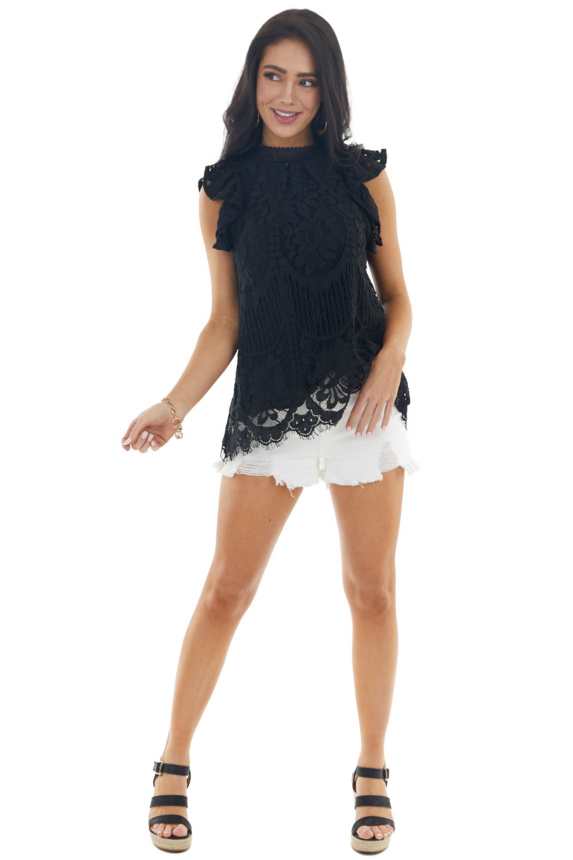 Black Lace Ruffle Cap Sleeve Blouse with High NecklineBlack Lace Ruffle Cap Sleeve Blouse with High Neckline