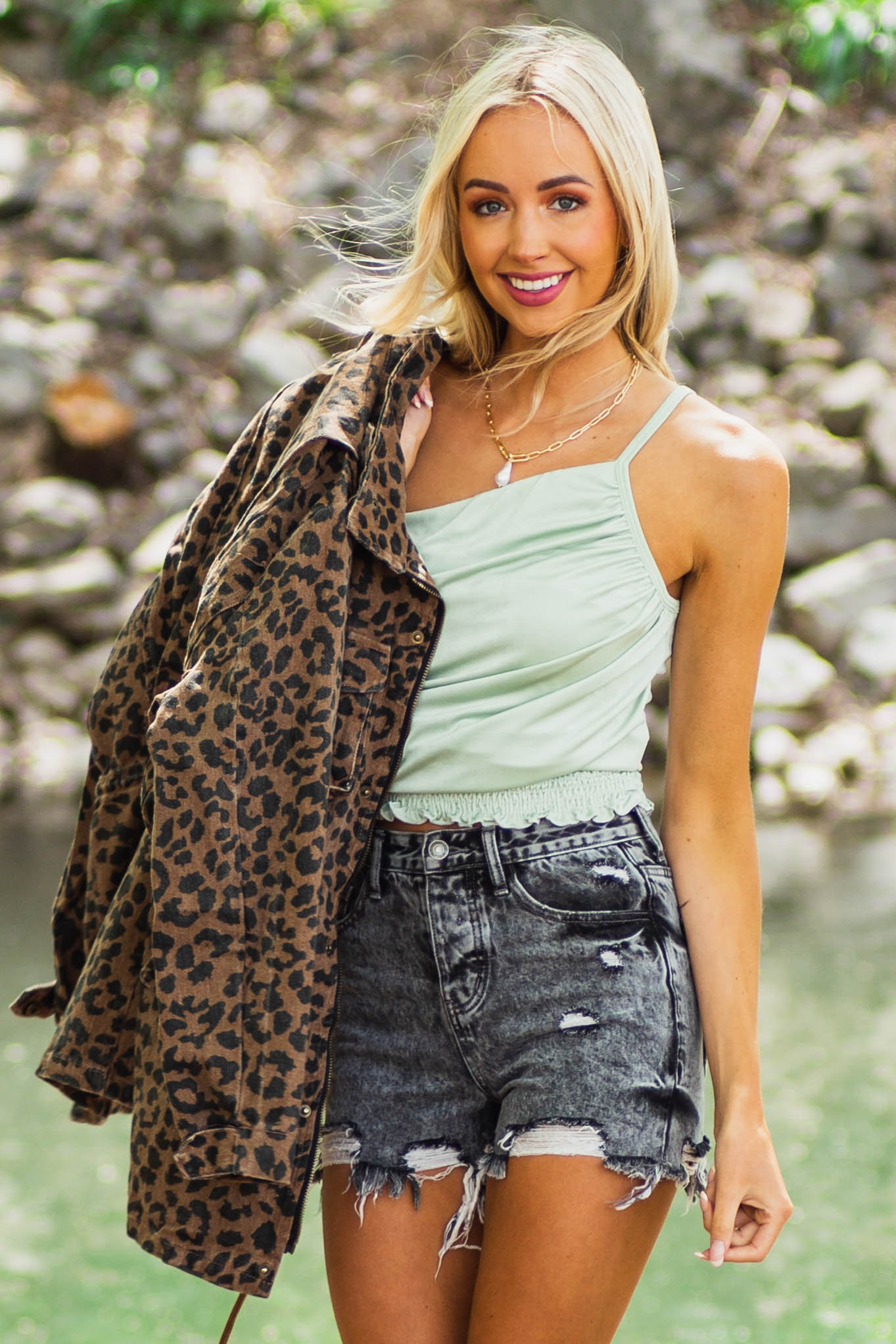 Sage One Shoulder Draped Knit Tank Top with Smocked Waist