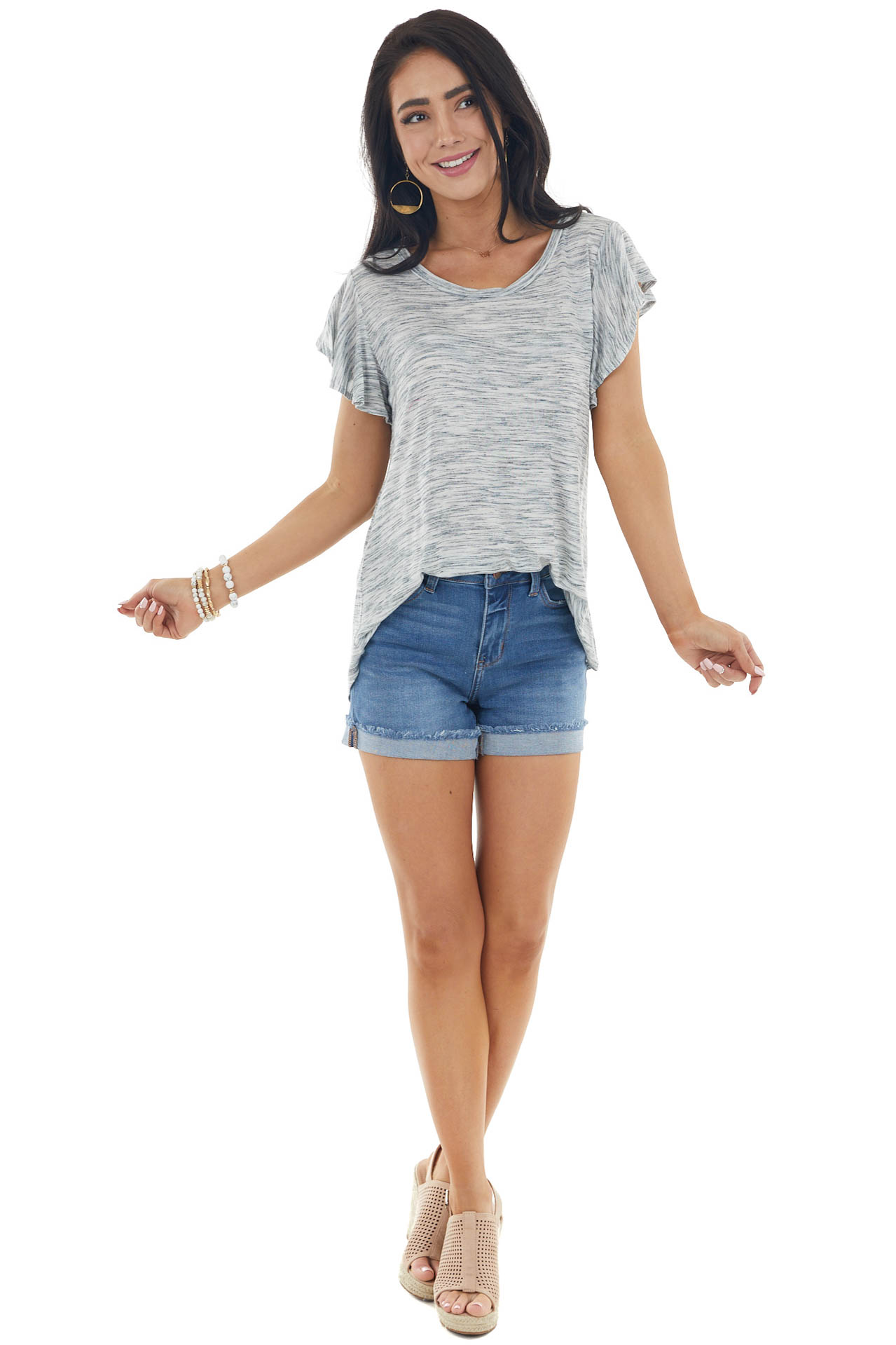Heather Grey and Charcoal Knit Top with Flutter Sleeves
