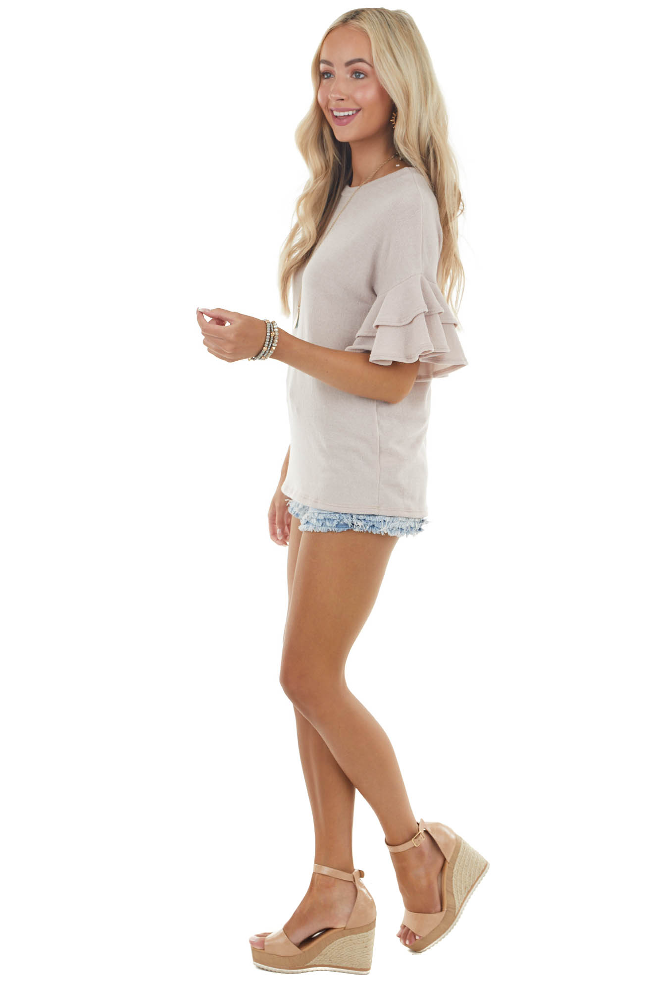 Latte Crew Neck Knit Top with Short Tiered Ruffle Sleeves