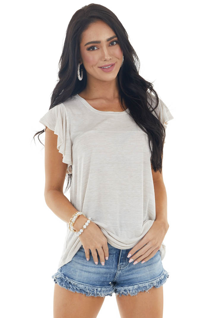 Desert Sand and Off White Knit Top with Flutter Sleeves