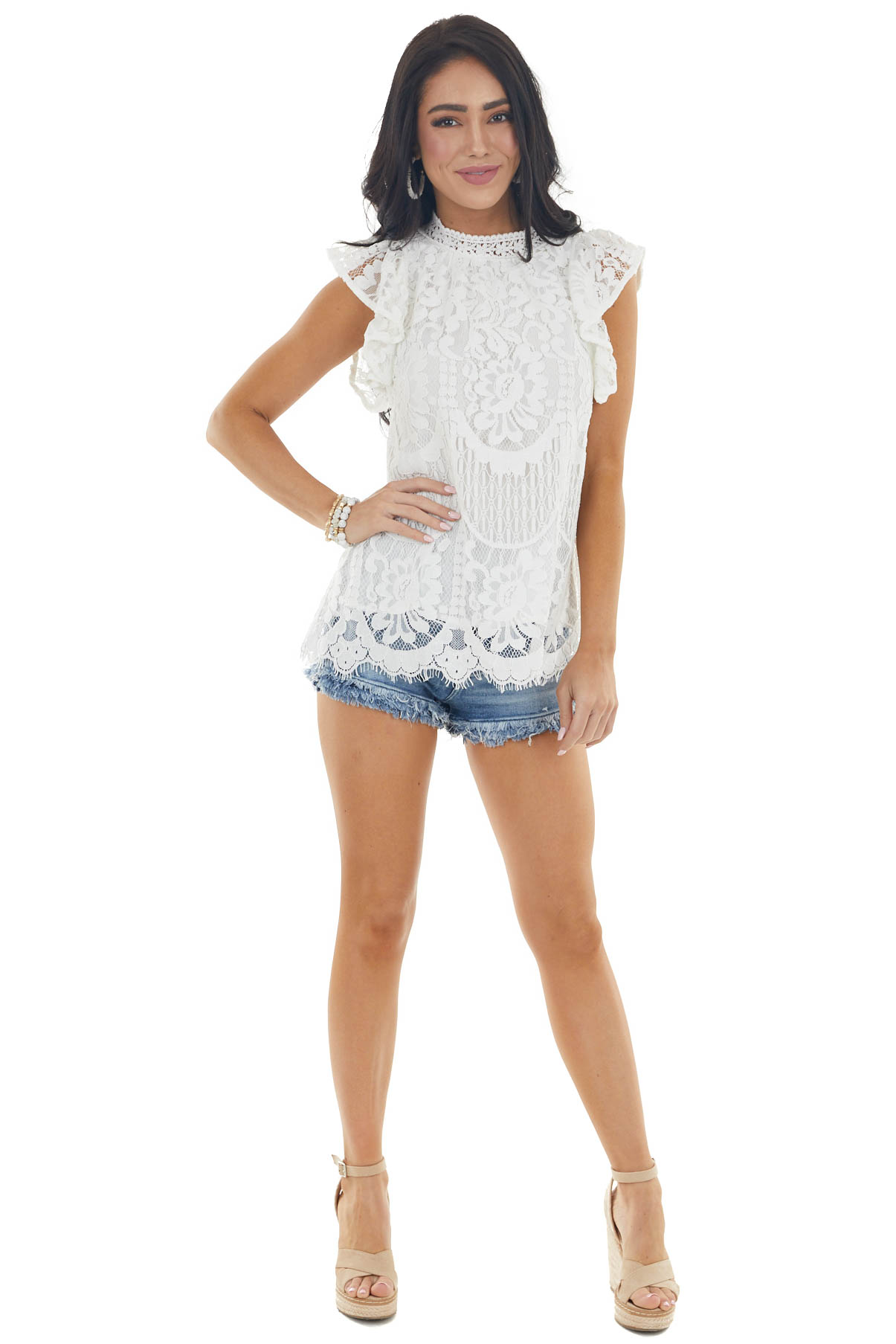 Off White Lace Ruffle Cap Sleeve Blouse with High Neckline