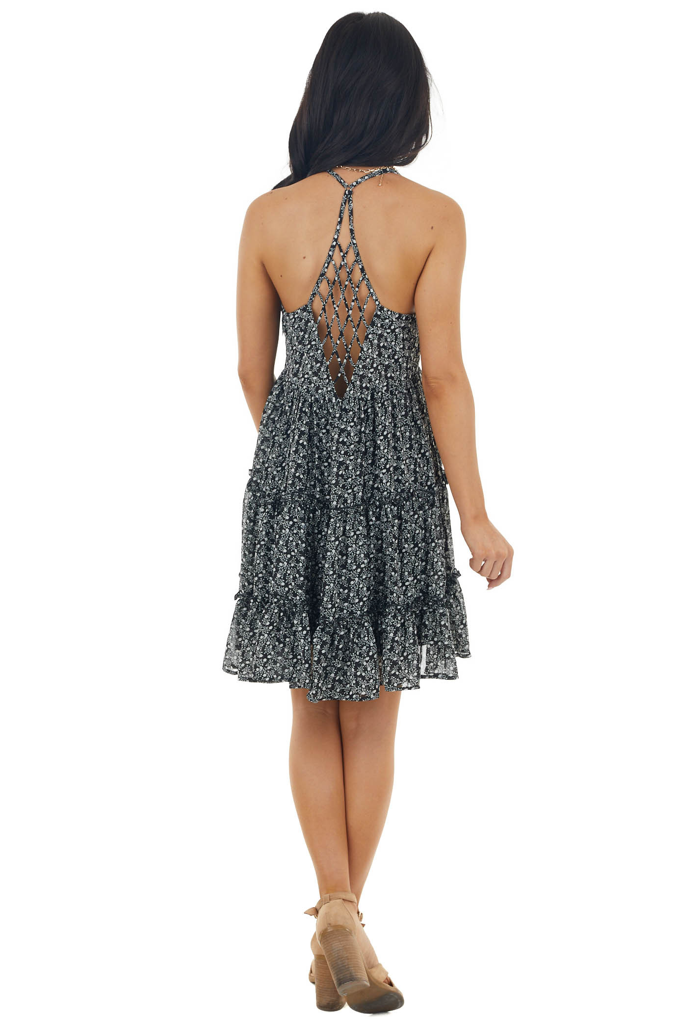 Black Ditsy Floral Sleeveless Tiered Dress with Caged Back