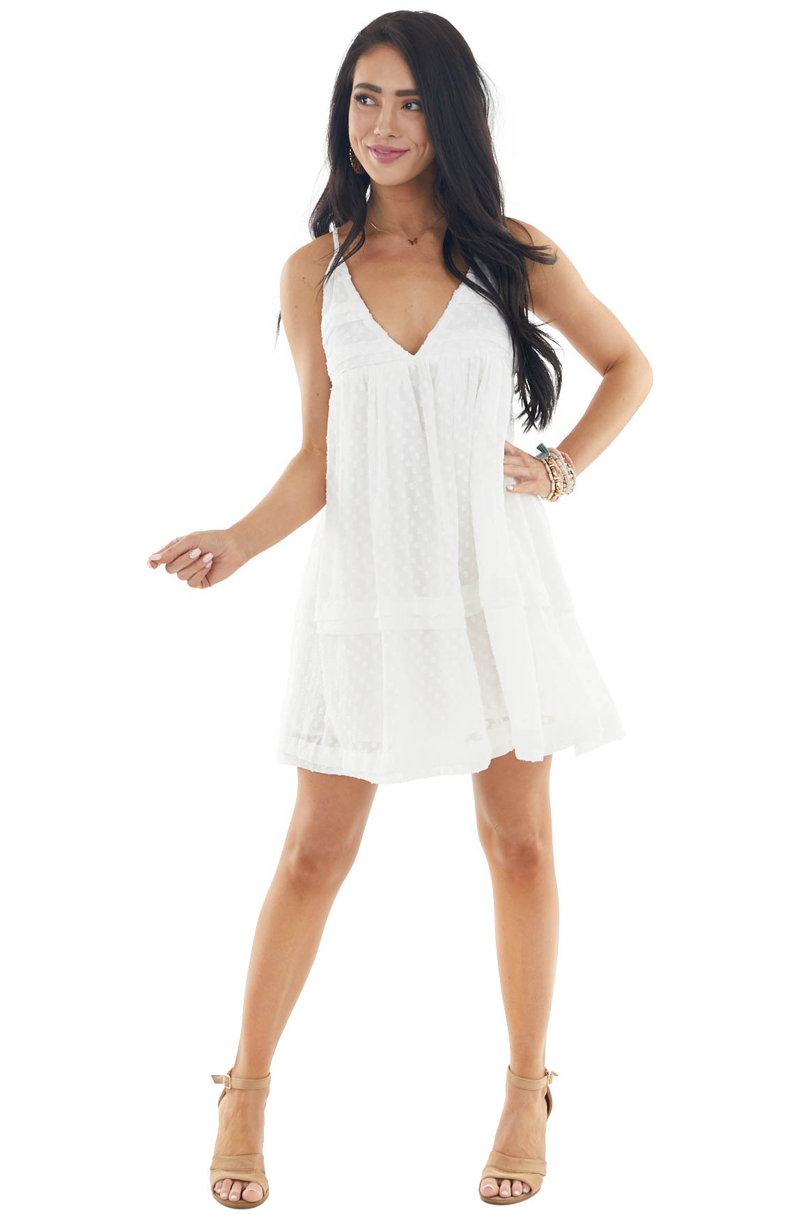 Off White Swiss Dot Babydoll V Neck Sleeveless Mini Dress