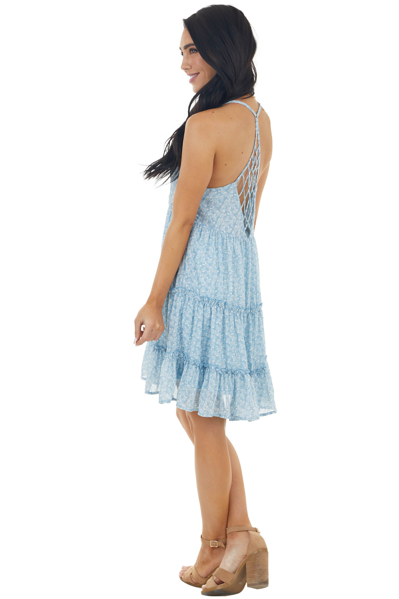 Sky Ditsy Floral Sleeveless Tiered Dress with Caged Back
