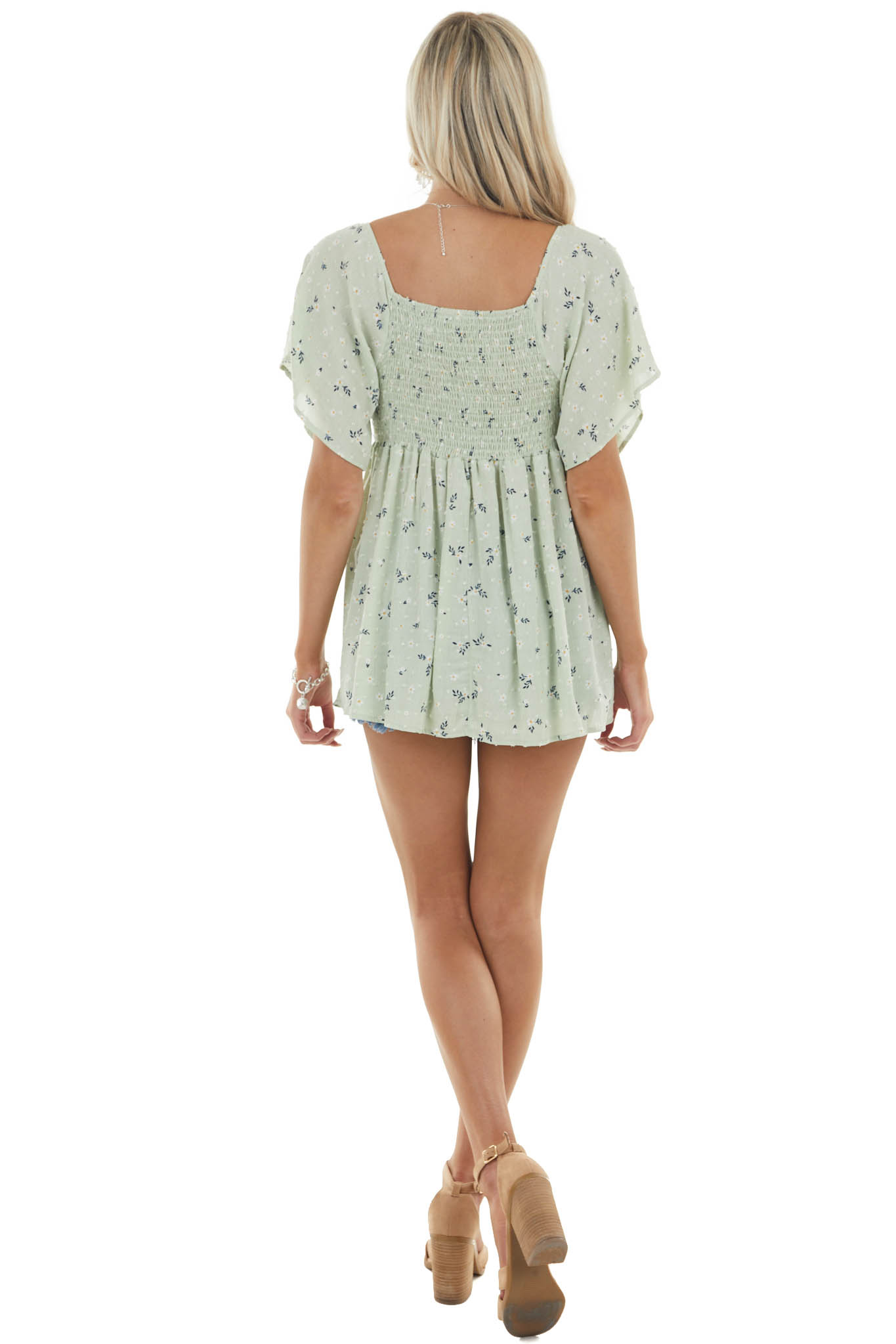 Sage Floral Print and Swiss Dot Blouse with Ruffle Detailing