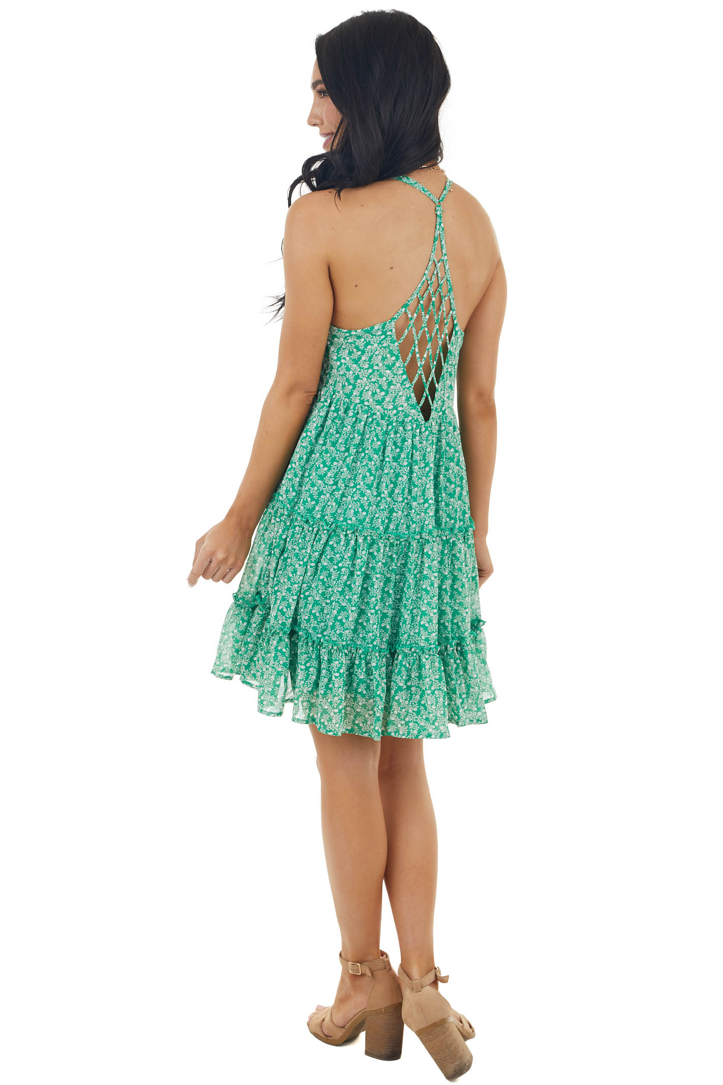 Jade Ditsy Floral Sleeveless Tiered Dress with Caged Back