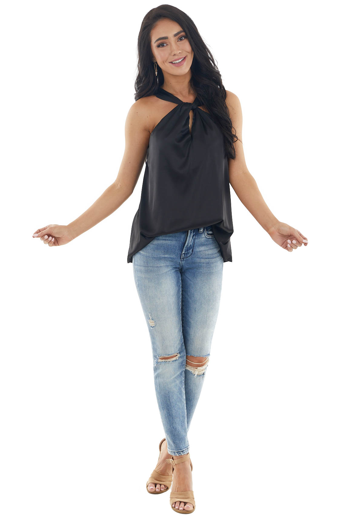 Black Sleeveless Halter Neck Woven Silky Top with Keyhole