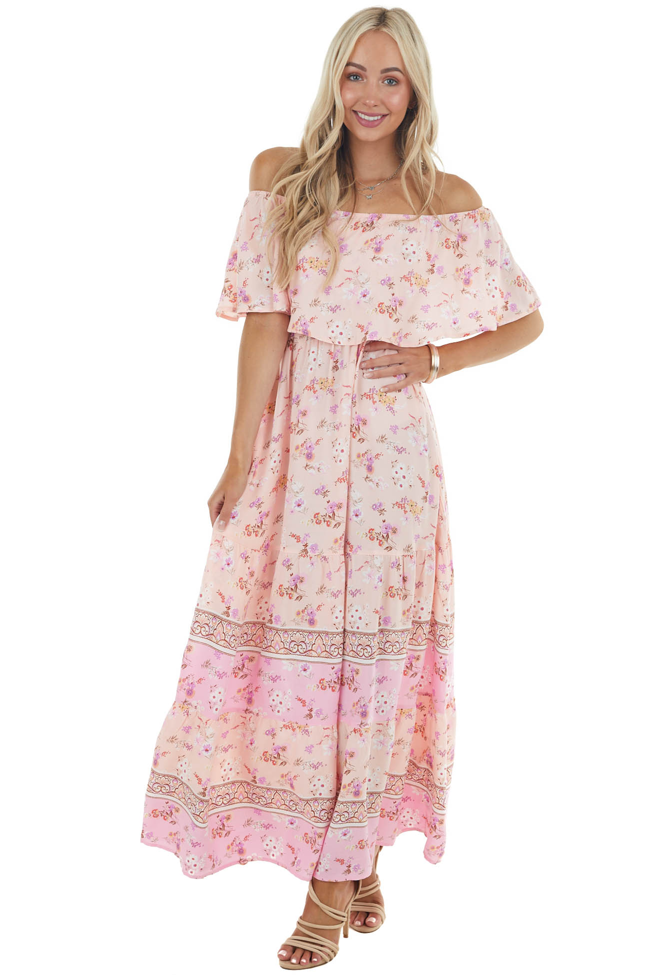 Light Peach Floral Print Off Shoulder Woven Maxi Dress