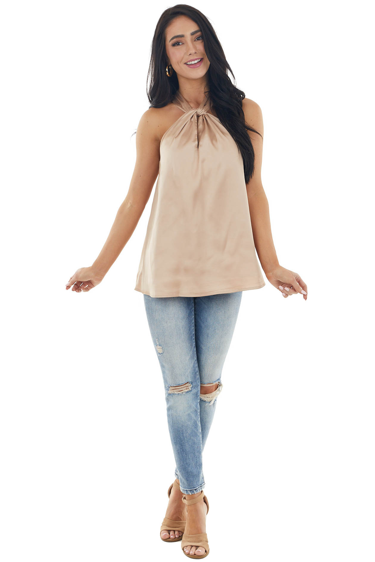 Bronze Sleeveless Halter Neck Woven Silky Top with Keyhole