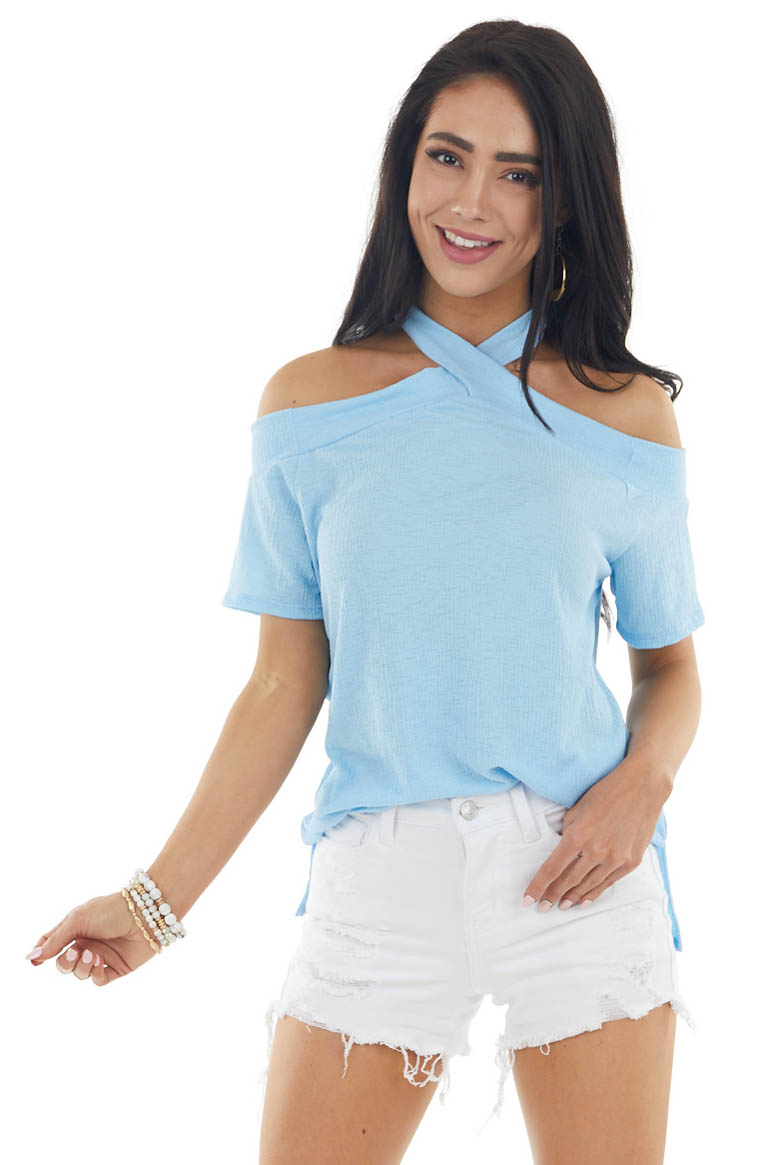 Baby Blue Criss Cross Short Sleeve Cold Shoulder Knit Top