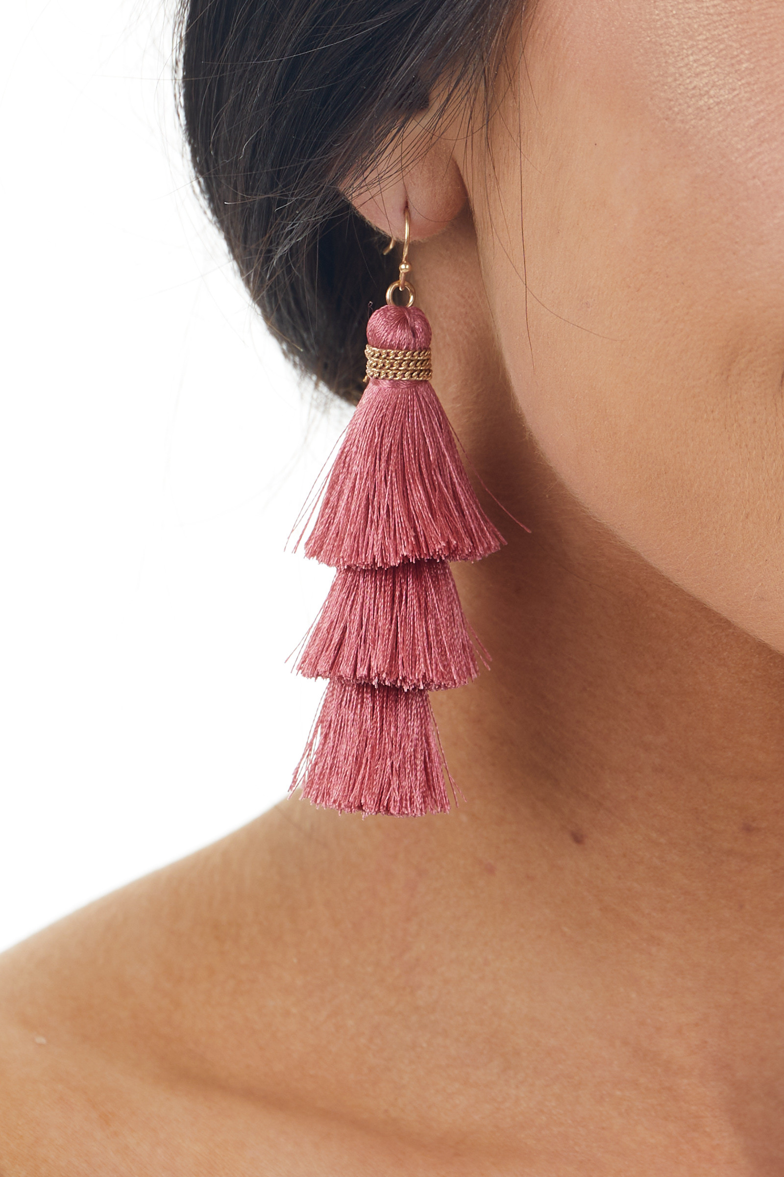 Boysenberry Three Tier Tassel Dangle Hook Earrings