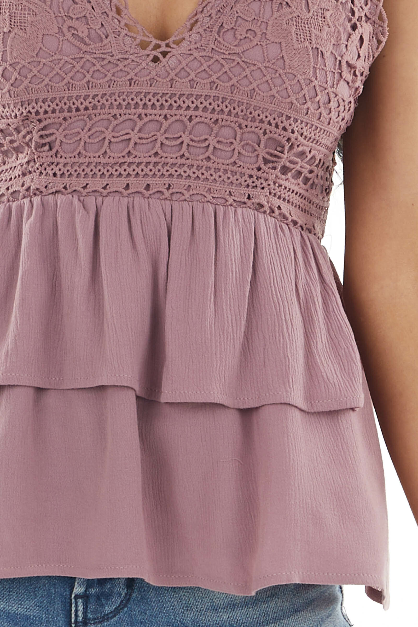 Dark Mauve Tiered Peplum Woven Tank Top with Crochet Lace