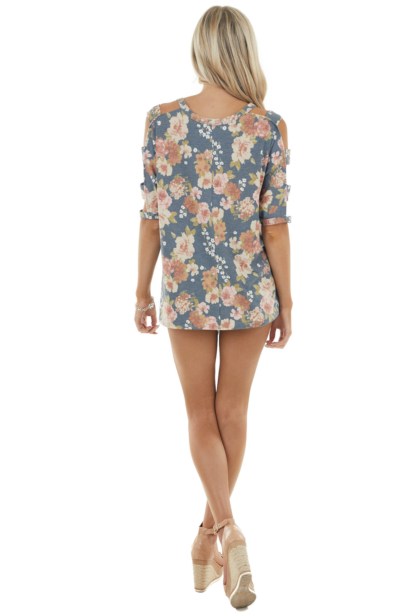 Spruce Floral Print Knit Top with Ladder Cut Out Sleeves