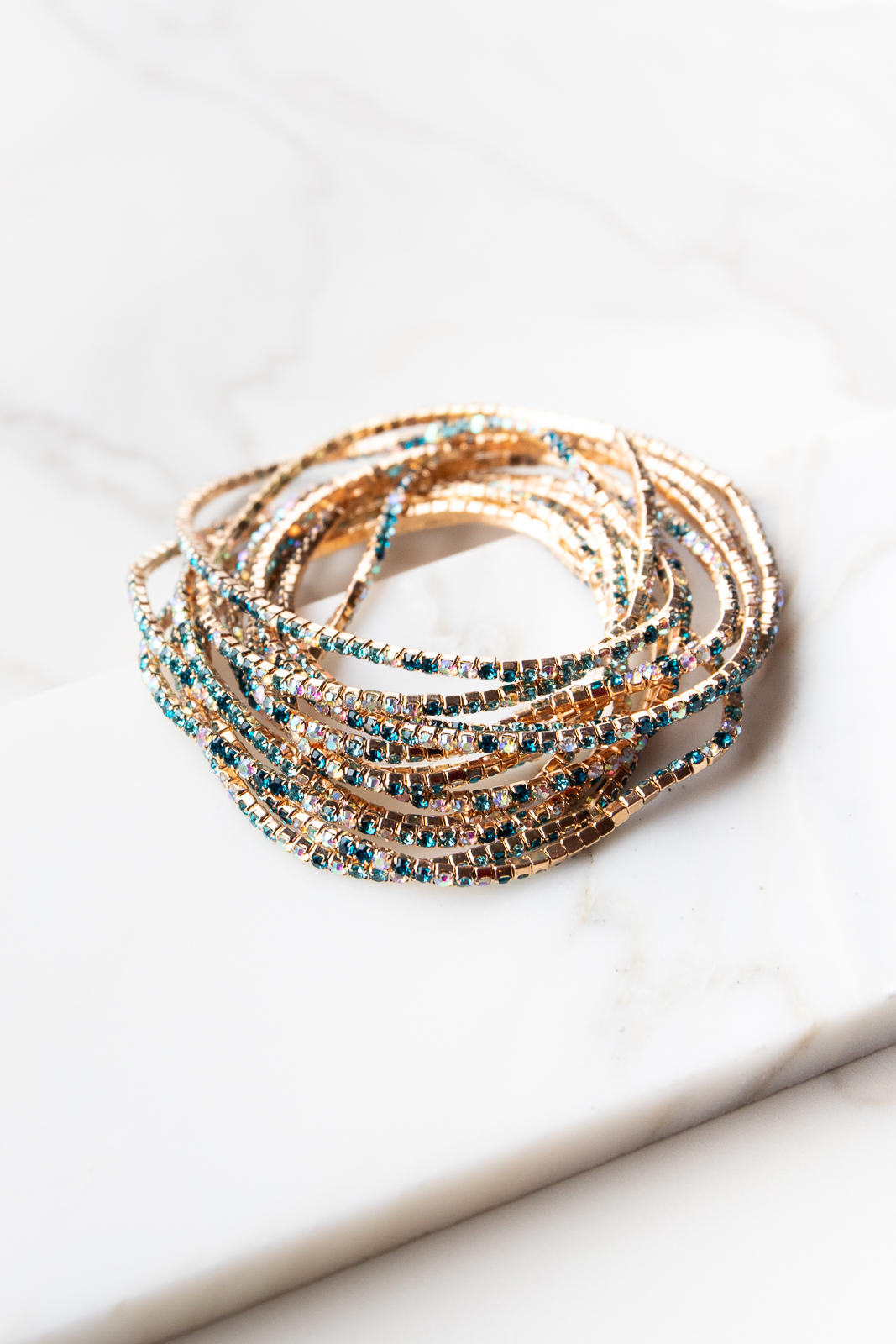 Gold and Teal Multicolor Rhinestone Stretchy Bracelet Set