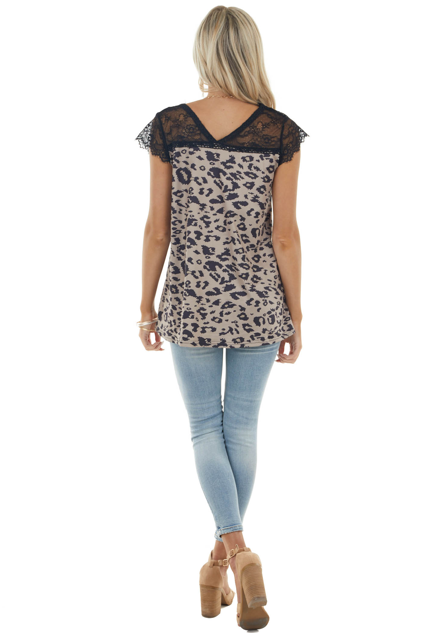 Light Peanut Leopard Print Knit Top with Lace Cap Sleeves