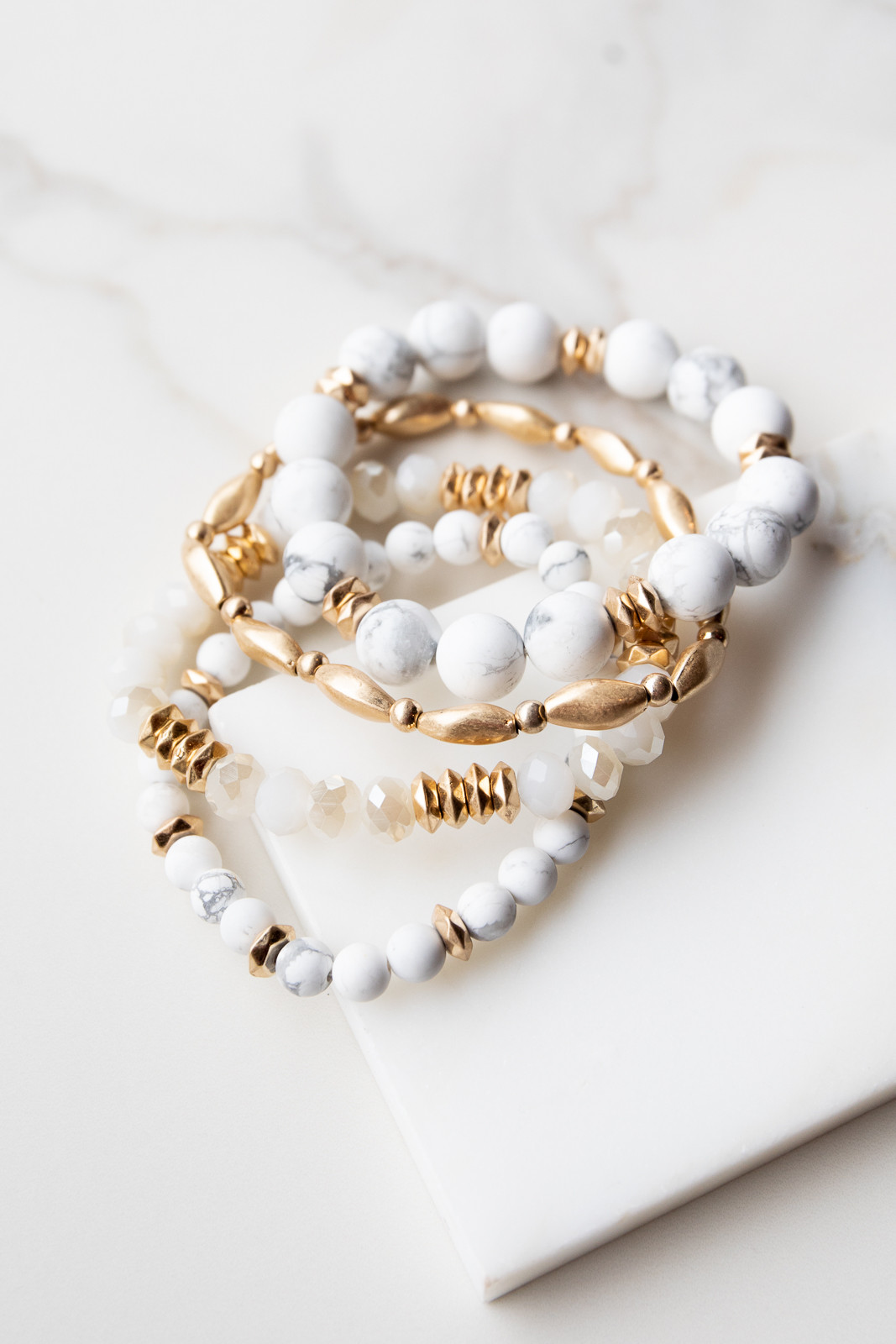 White Marble and Gold Beaded Four Piece Bracelet Set