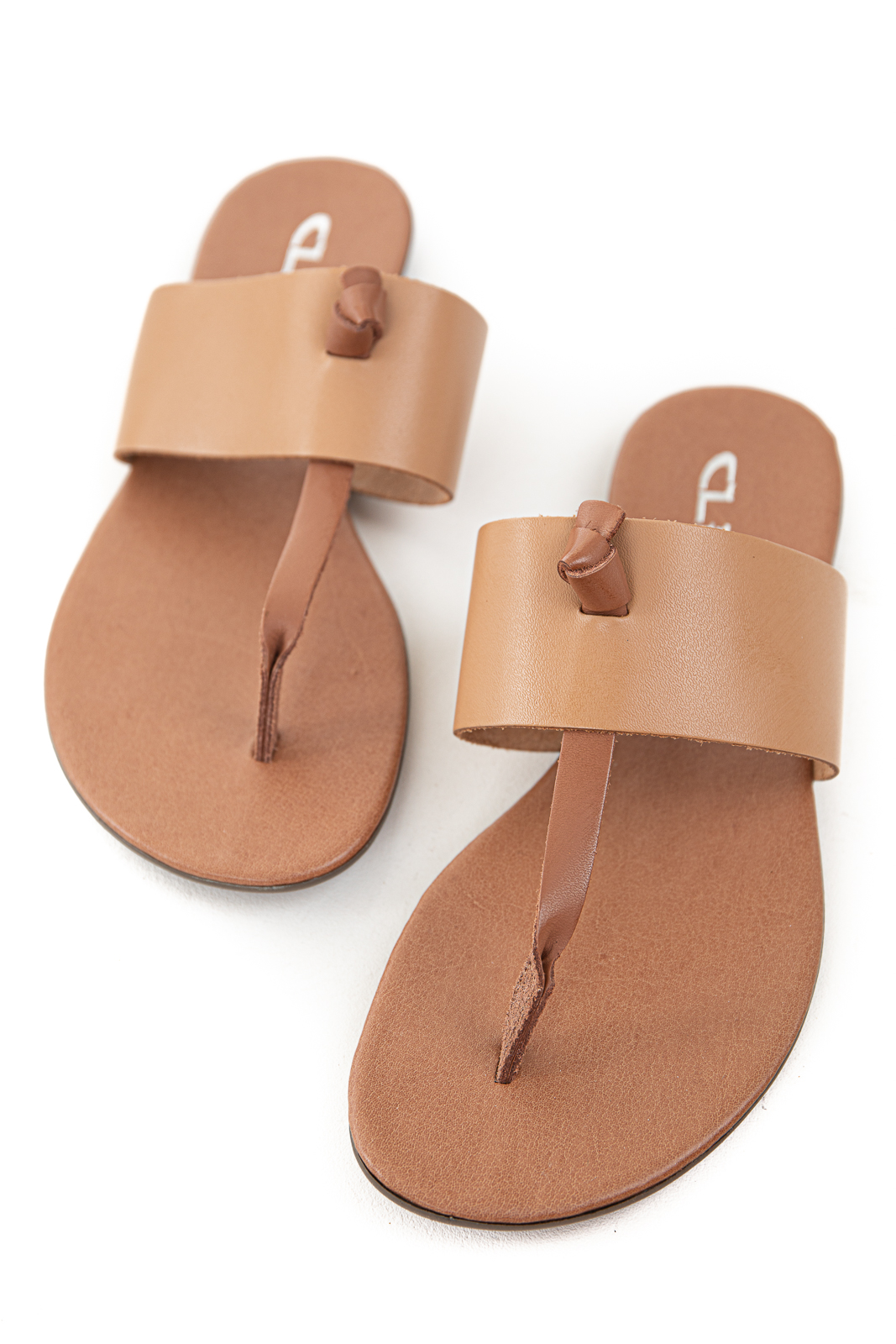 Peanut and Sienna Slip On Flat Thong Sandals with Wide Strap