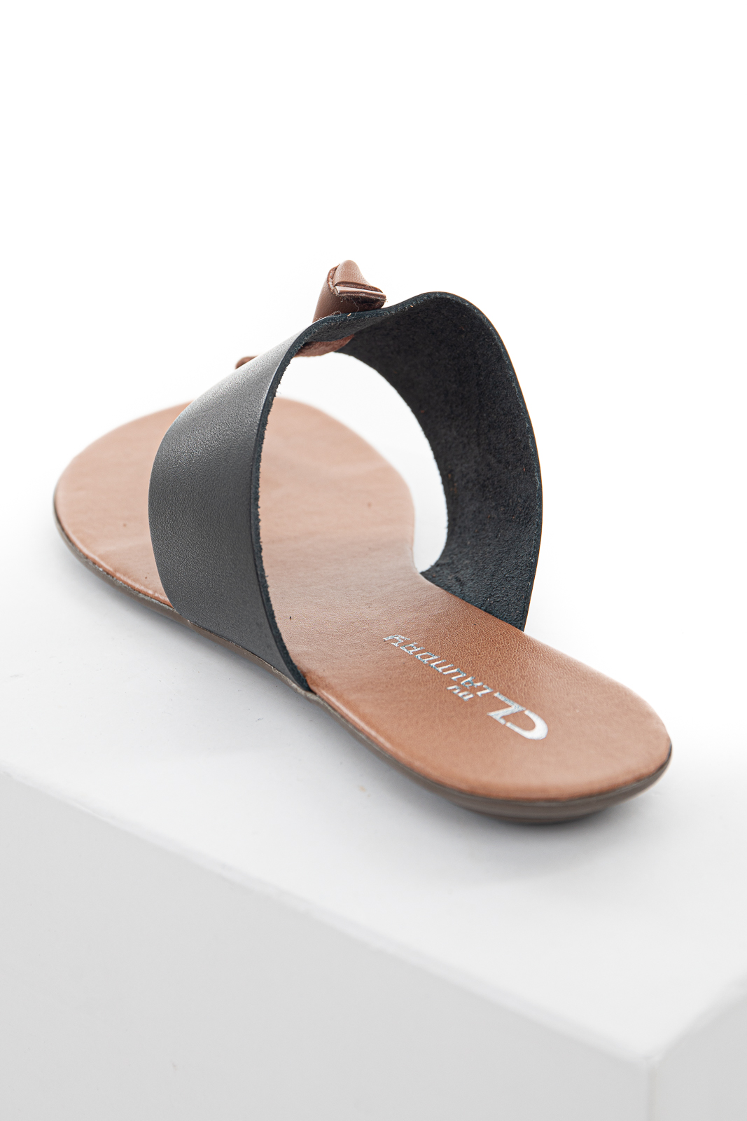 Black and Sienna Slip On Flat Thong Sandals with Wide Strap
