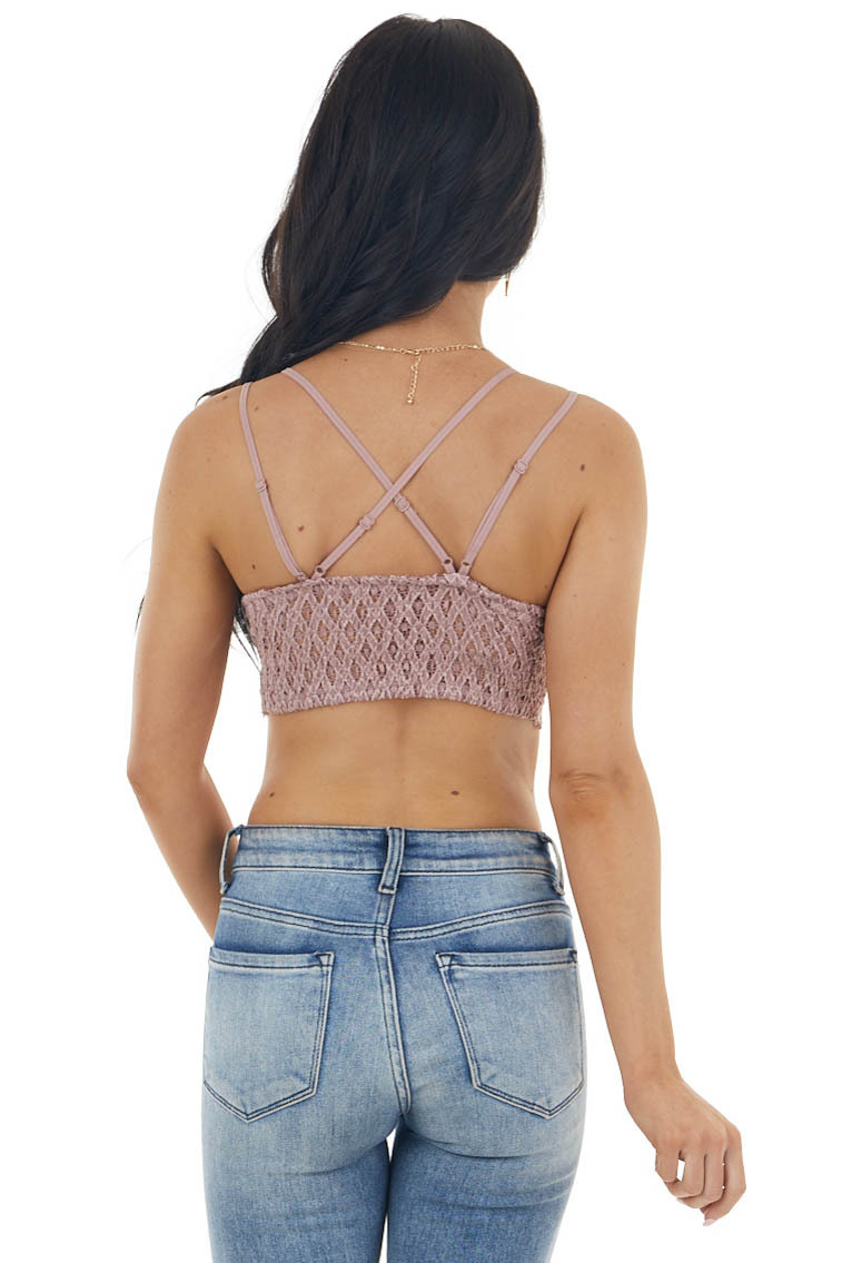 Dusty Rose Floral Lace Bralette with Criss Cross Straps