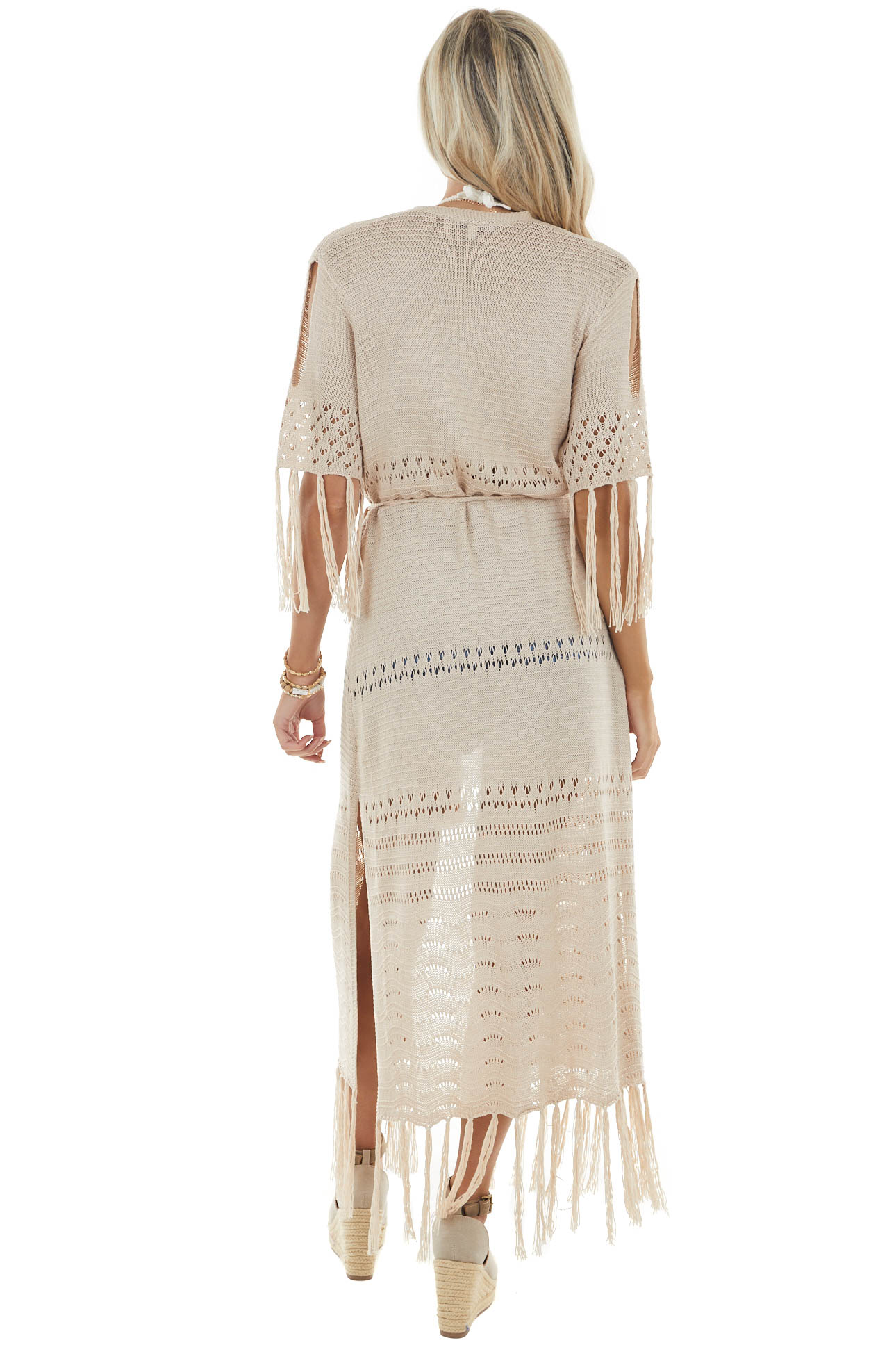 Nude Short Sleeve Long Loose Knit Cardigan with Waist Tie
