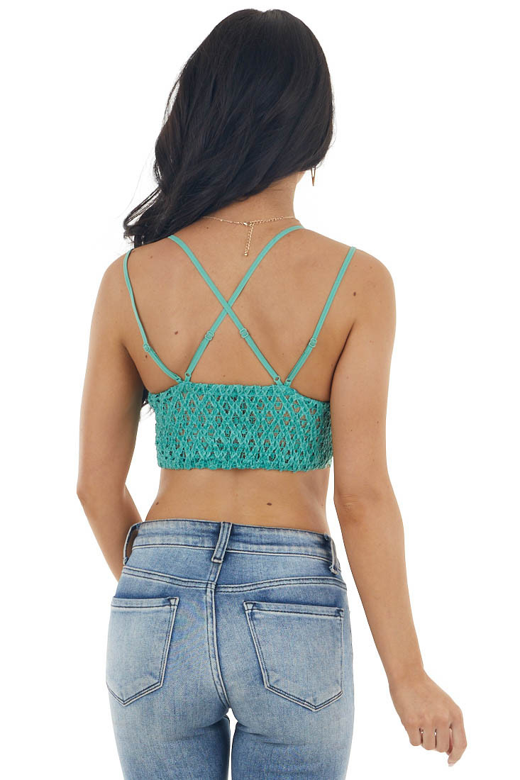 Kelly Green Floral Lace Bralette with Criss Cross Straps