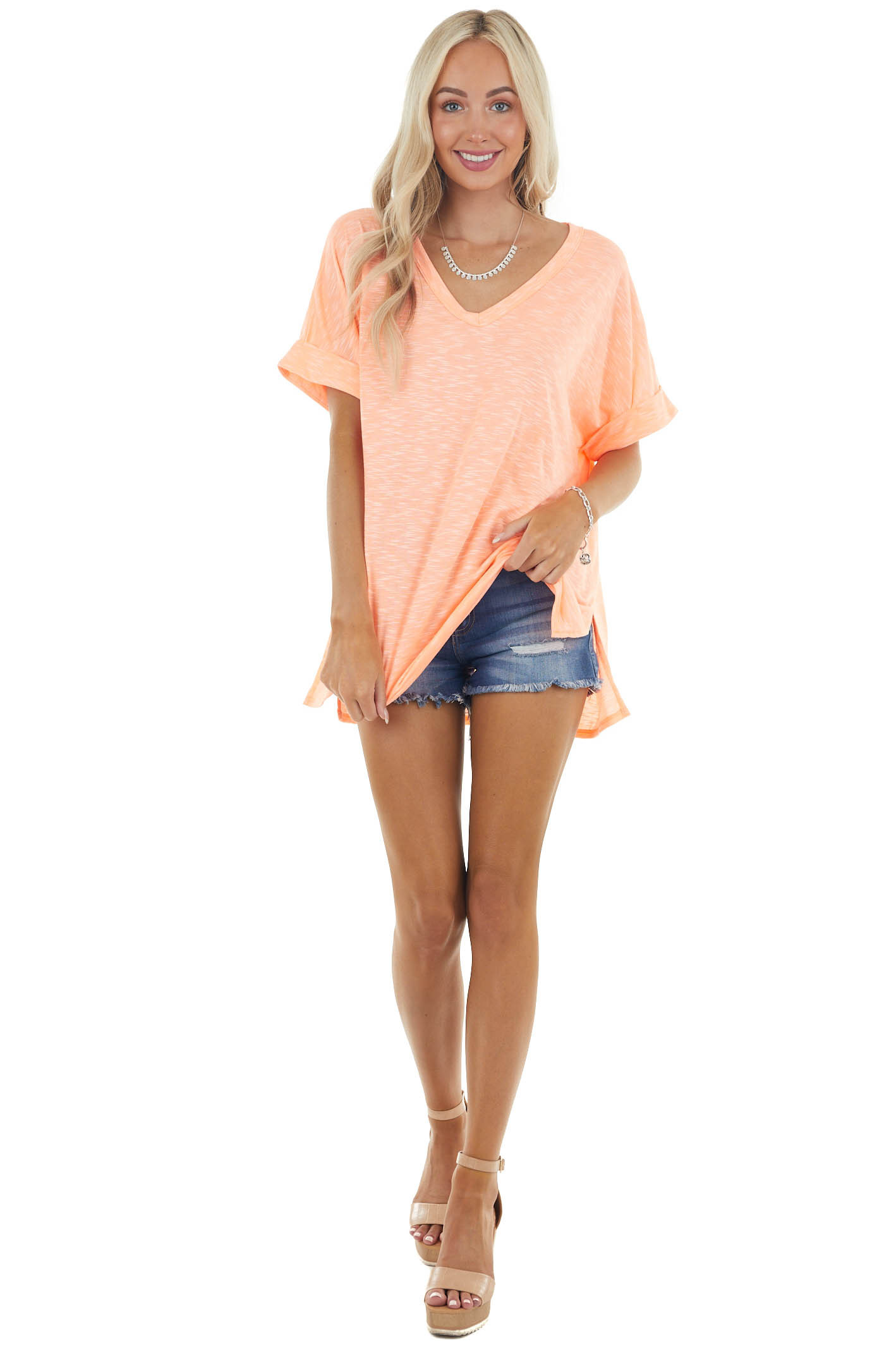 Heathered Neon Salmon Knit Top with Short Rolled Sleeves